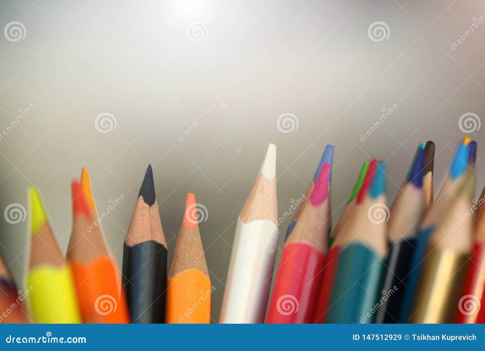 Χρωματισμένα μολύβια πολλά διαφορετική εκπαιδευτική έννοια απόψεων