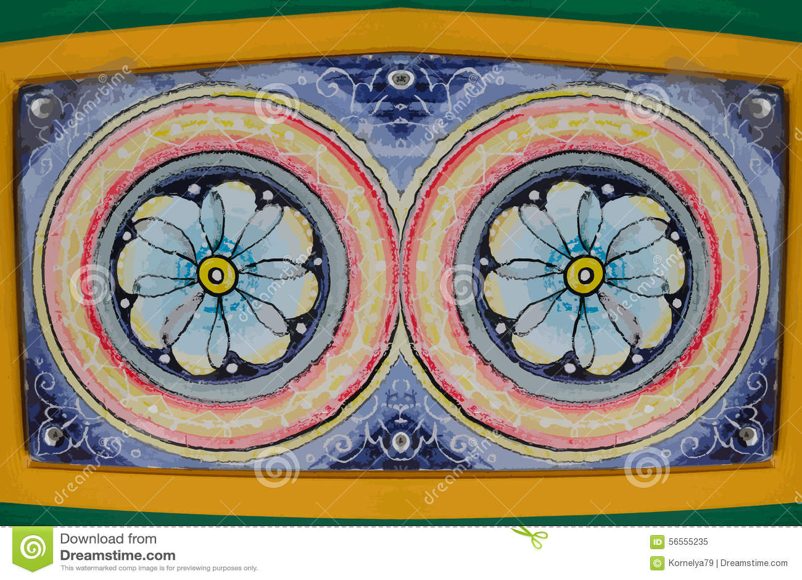 Download Χρωματισμένα λουλούδια - διανυσματική απεικόνιση Διανυσματική απεικόνιση - εικονογραφία από ζωηρόχρωμος, διακοσμημένος: 56555235