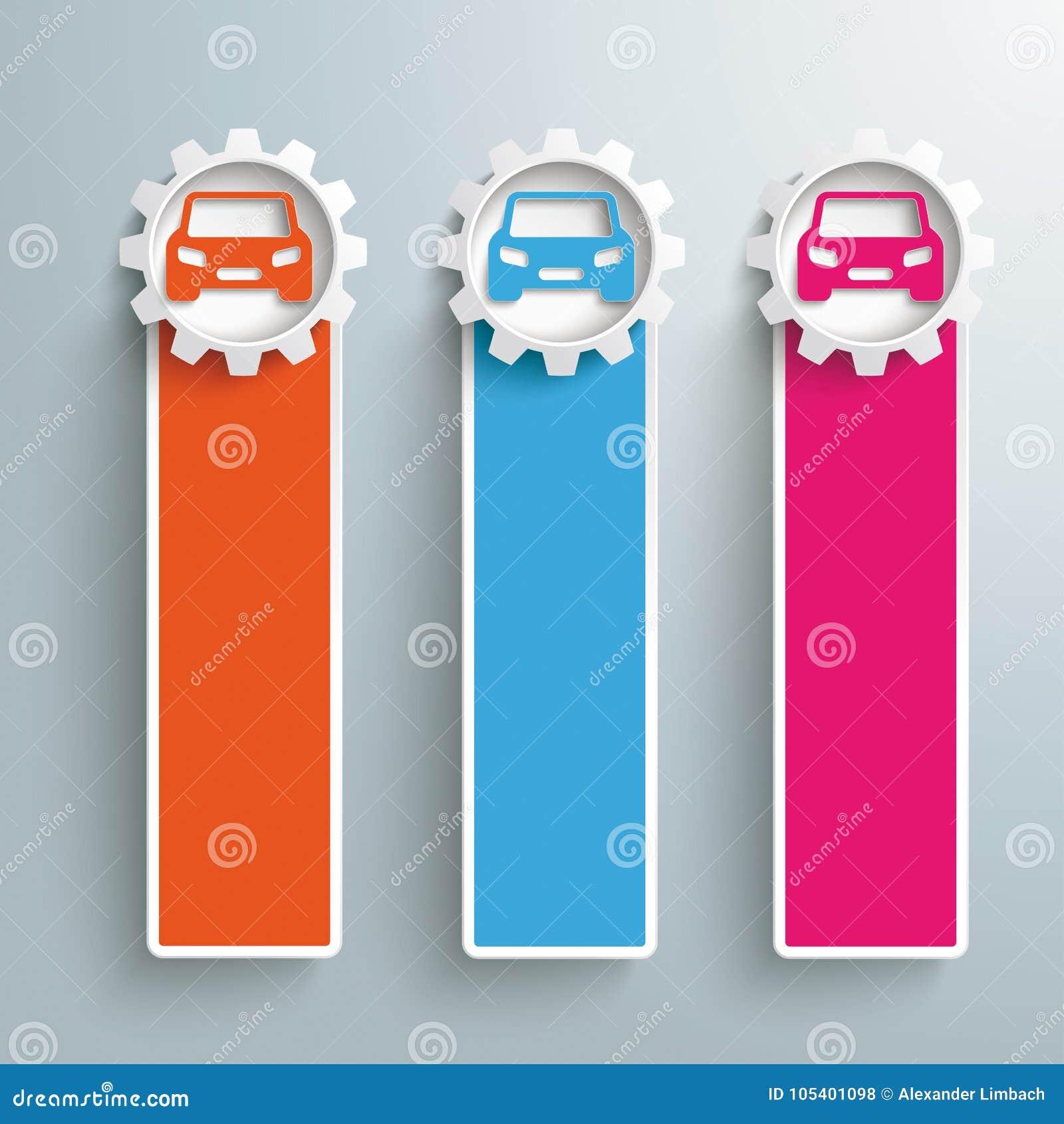 Download 3 χρωματισμένα στενόμακρα εργαλεία αυτοκινήτων εμβλημάτων Διανυσματική απεικόνιση - εικονογραφία από πρόοδος, κατάστημα: 105401098