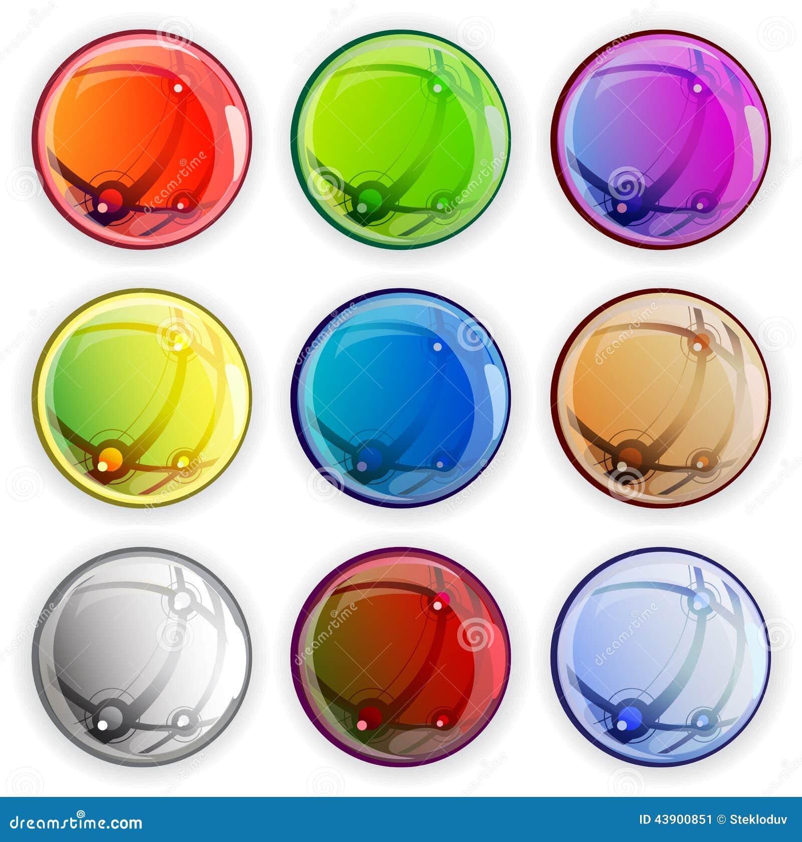 Χρωματισμένα στιλπνά κουμπιά Ιστού