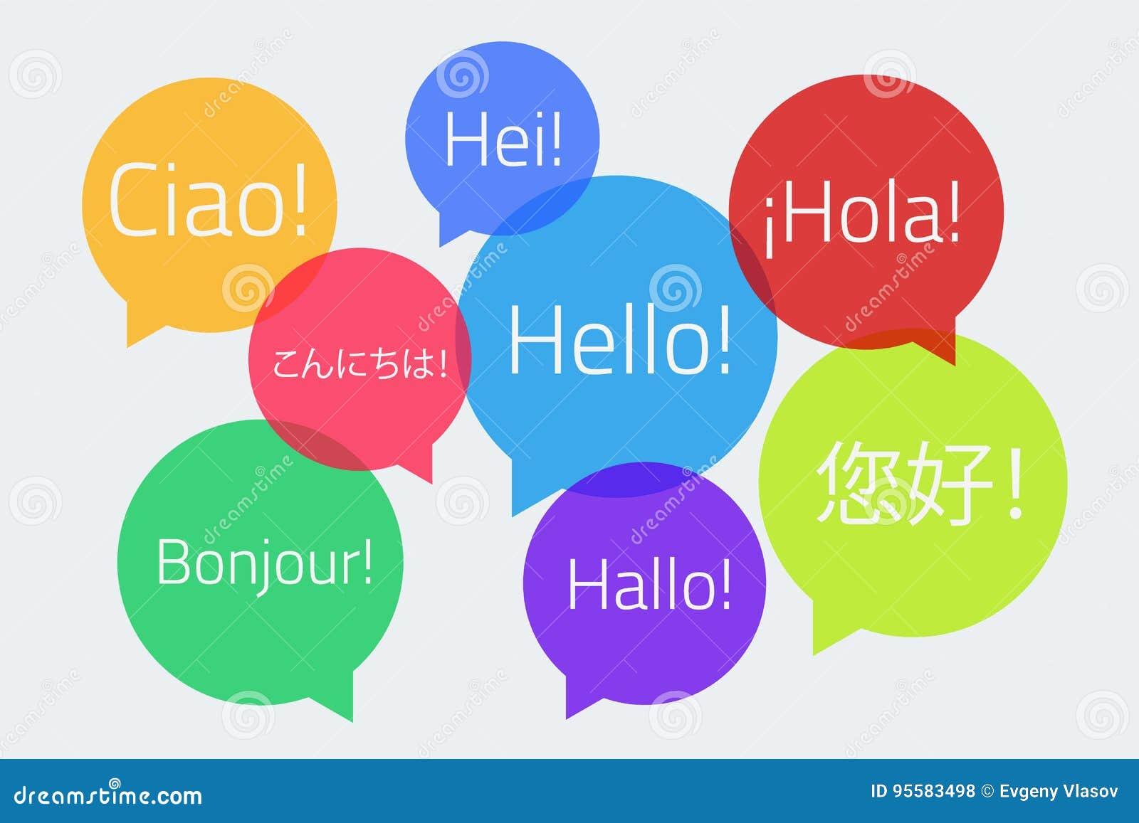 Χρωματισμένες λεκτικές φυσαλίδες με το κείμενο γειά σου στη διαφορετική γλώσσα