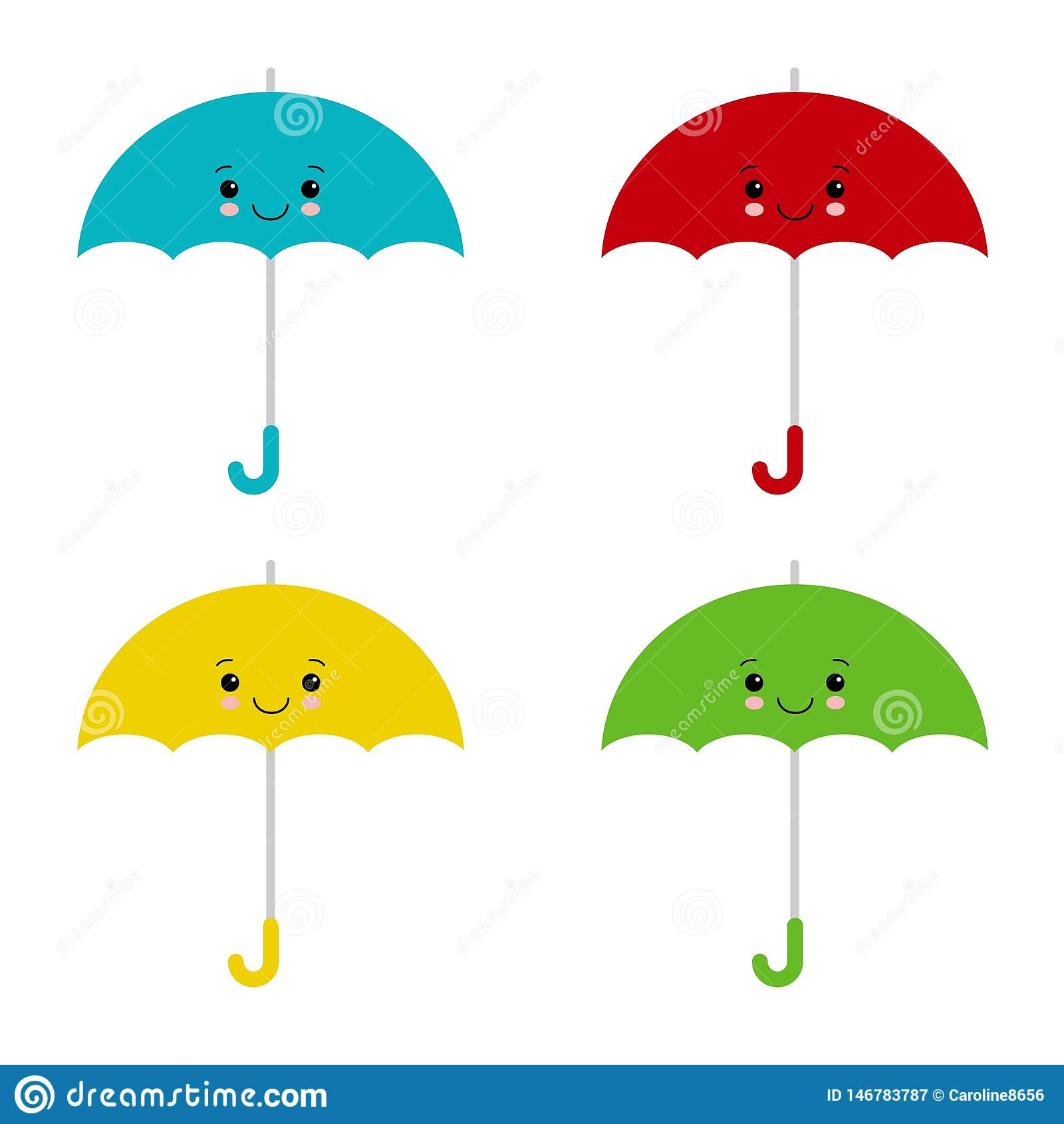 Χρωματισμένες Kawaii ομπρέλες Διανυσματική απεικόνιση, επίπεδο ύφος κινούμενων σχεδίων Χαριτωμένο parasol