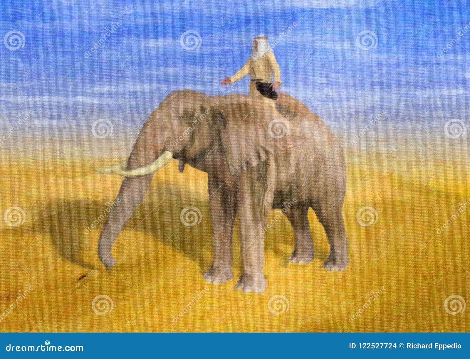 Χρωματισμένη απεικόνιση του ελέφαντα οδήγησης τυχοδιωκτών ερήμων