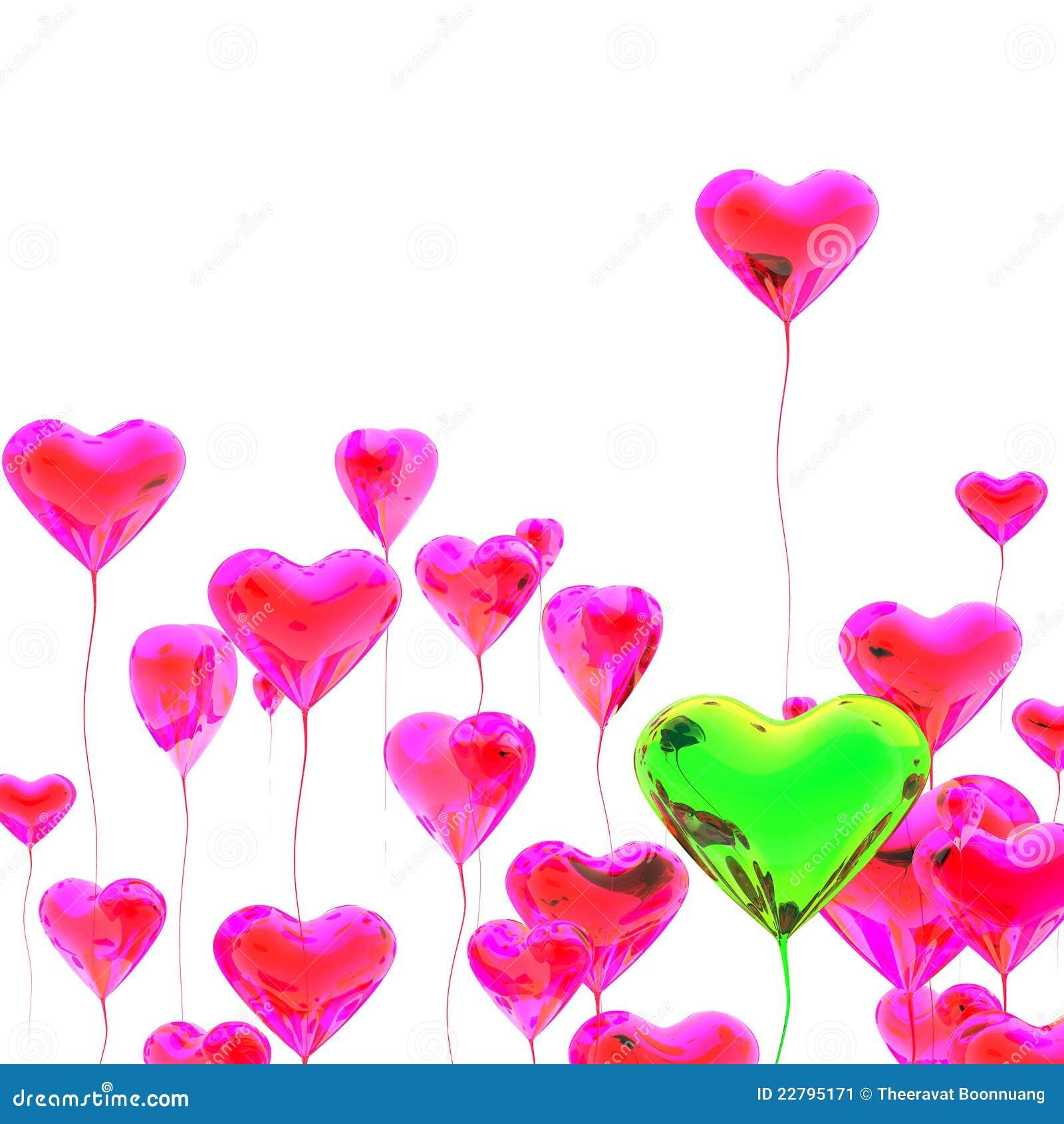 χρωματισμένη μπαλόνι καρδιά πολυ