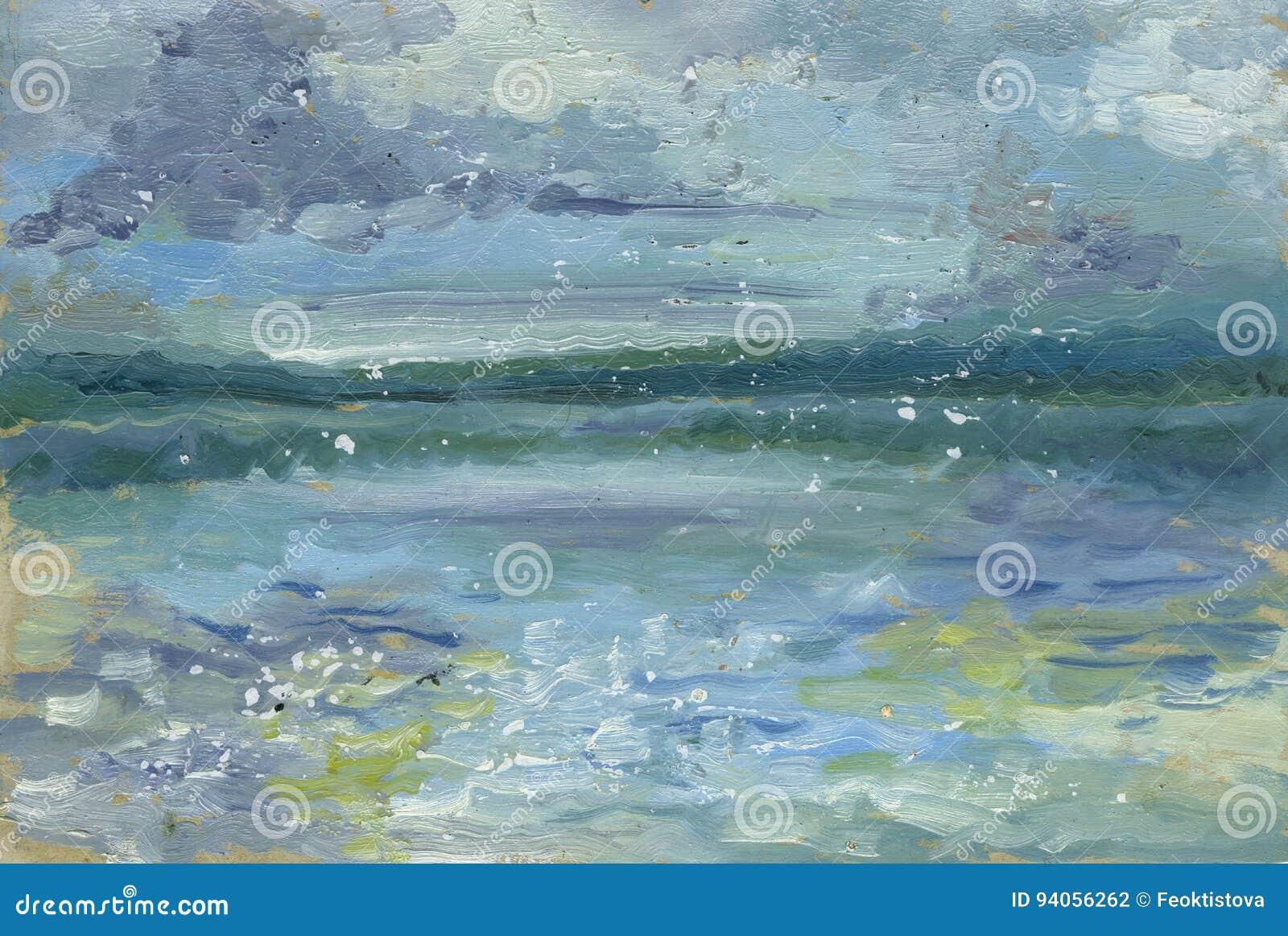 Χρωματισμένη χέρι σκιαγραφία του φάρου στο ηλιοβασίλεμα δασικός ποταμός ελαιογραφίας τοπίων