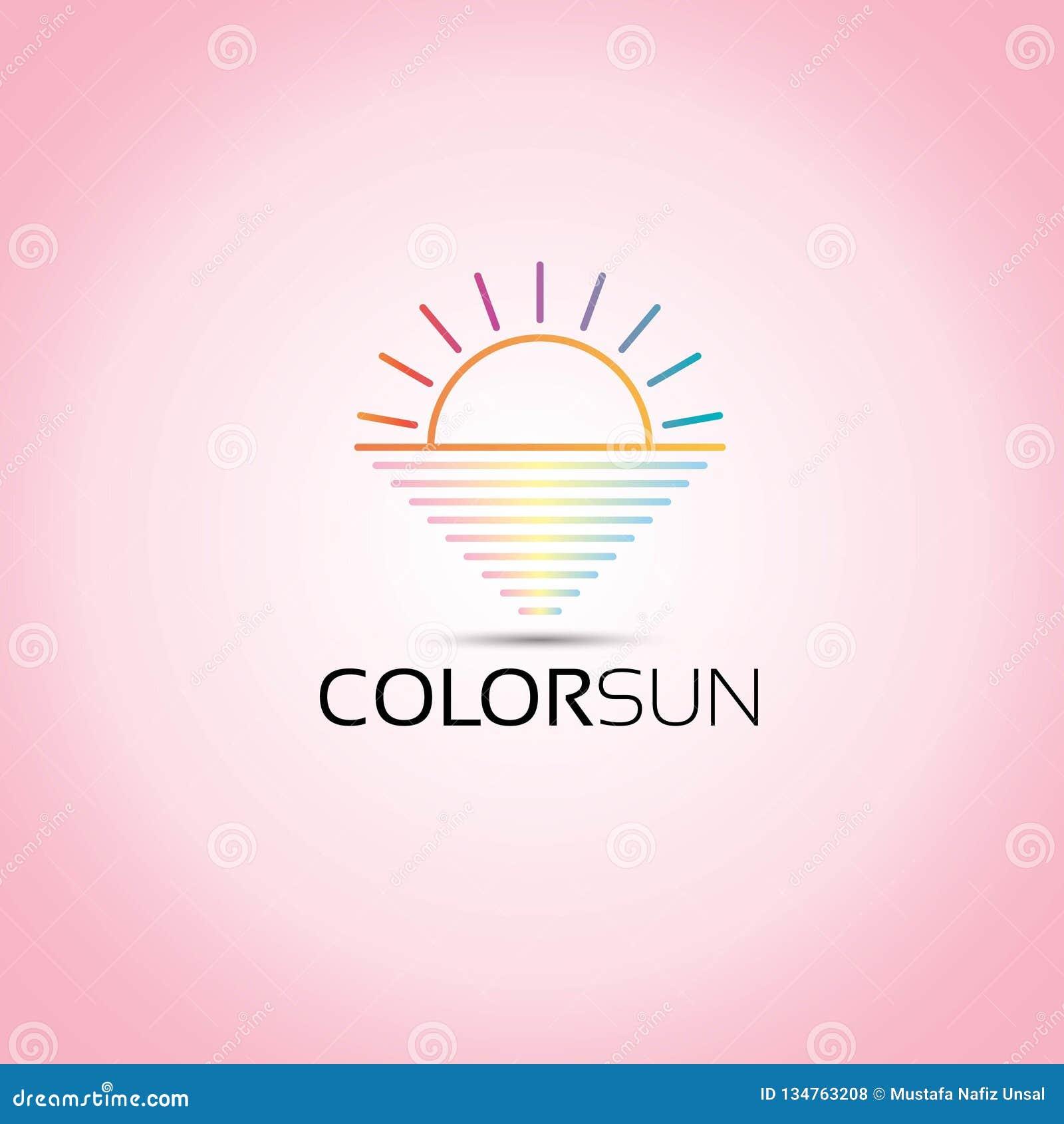 Χρωματισμένο θάλασσα διανυσματικό λογότυπο ήλιων