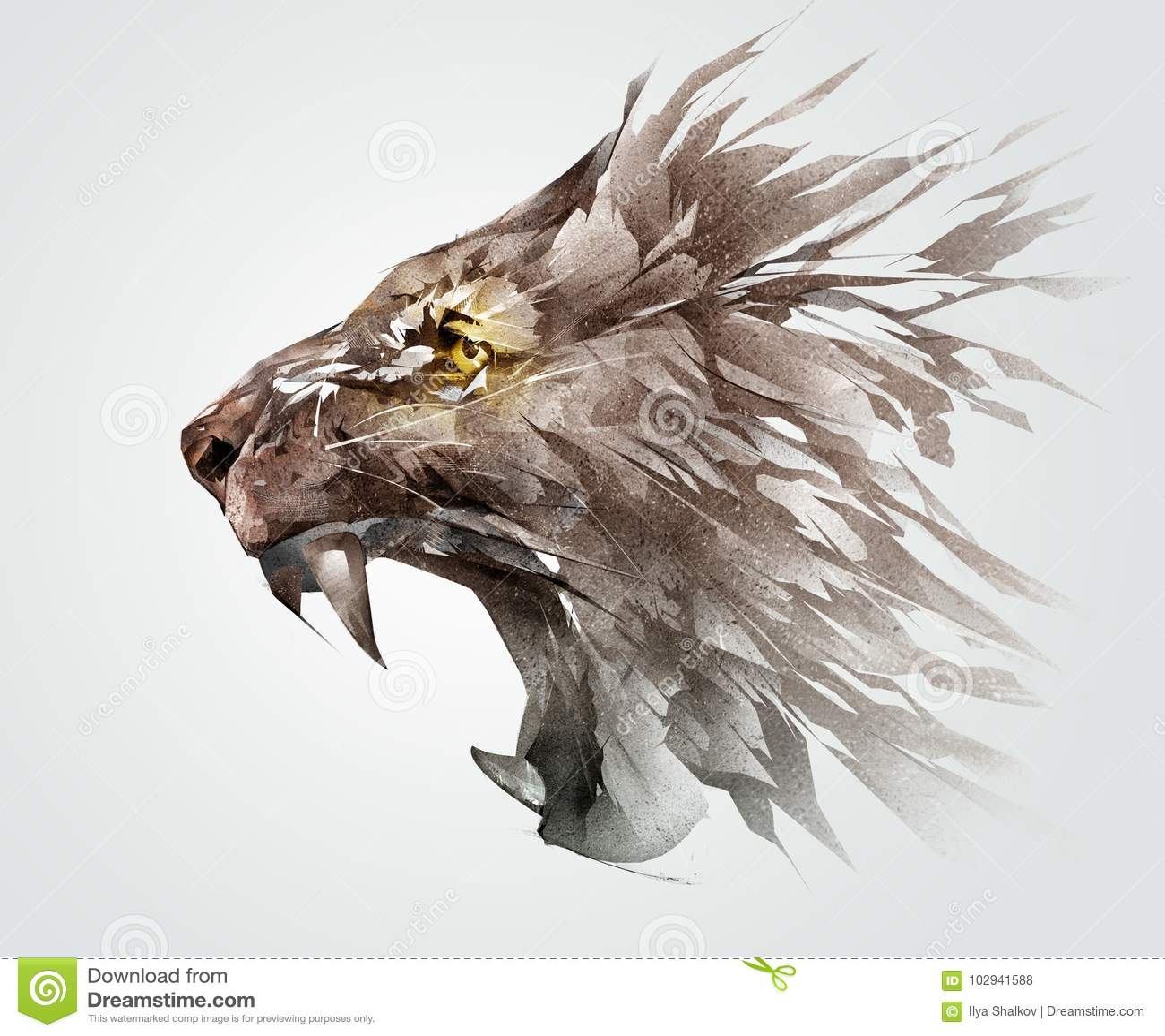 χρωματισμένο ρύγχος χαμόγελου σκίτσων ενός λιονταριού η ζωική πλευρά