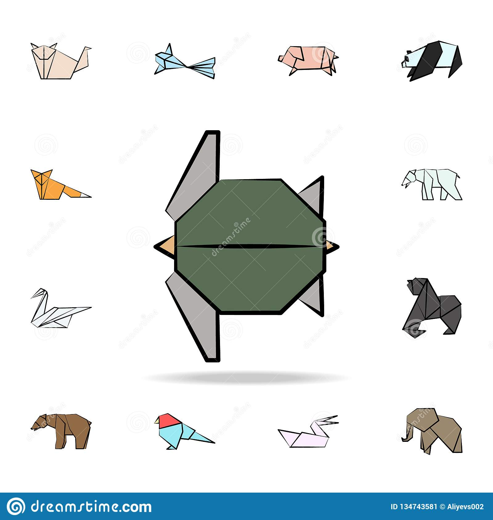 χρωματισμένο χελώνα εικονίδιο origami Λεπτομερές σύνολο ζωικών διαθέσιμων συρμένων εικονιδίων ύφους origami Γραφικό σχέδιο ασφαλί