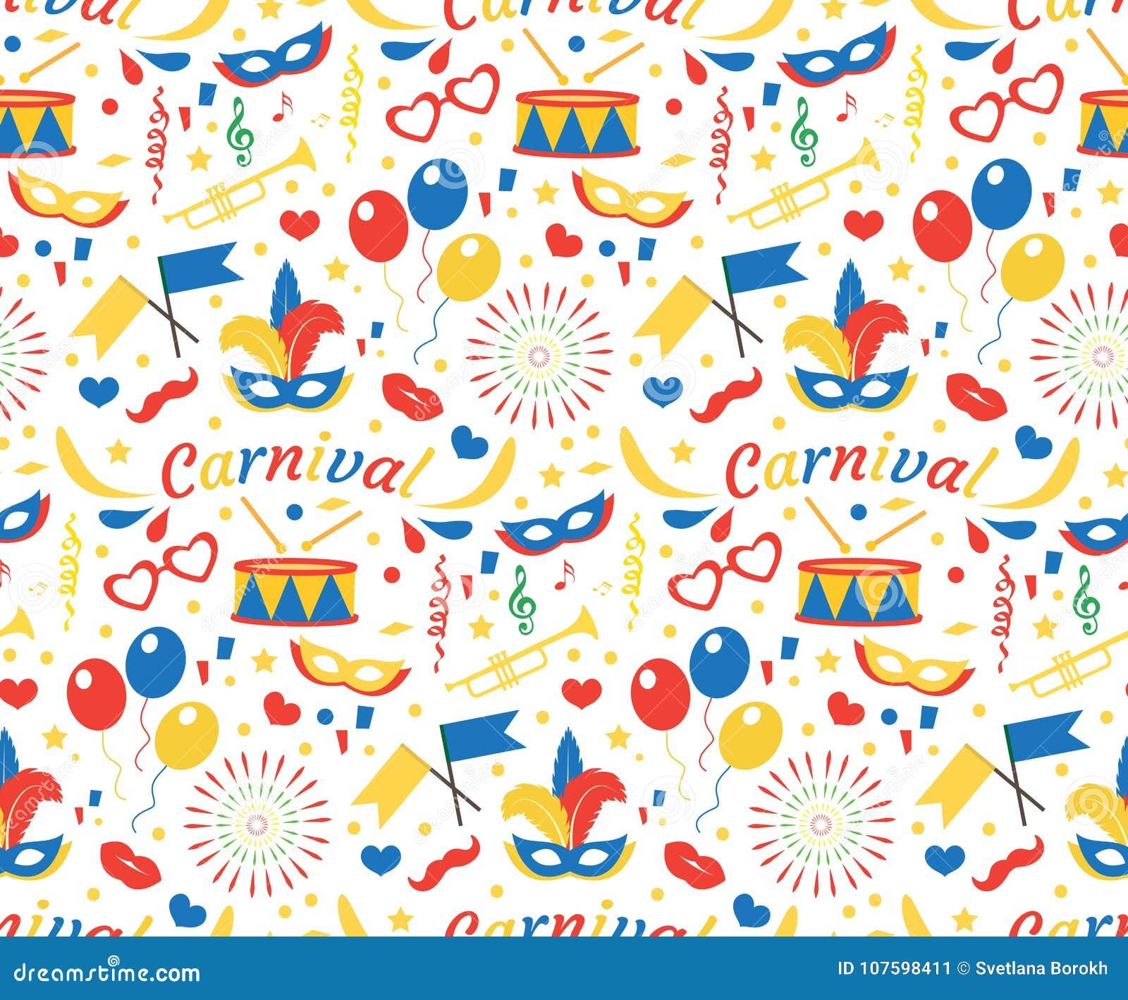 Χρόνια πολλά ή άνευ ραφής σχέδιο καρναβαλιού με τα φτερά μασκών, μπαλόνια, κομφετί Ατελείωτο υπόβαθρο κόμματος purim