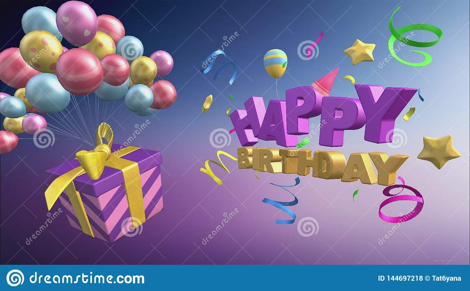 Χρόνια πολλά χαιρετώντας με τα μπαλόνια και τα δώρα με το τρισδιάστατο