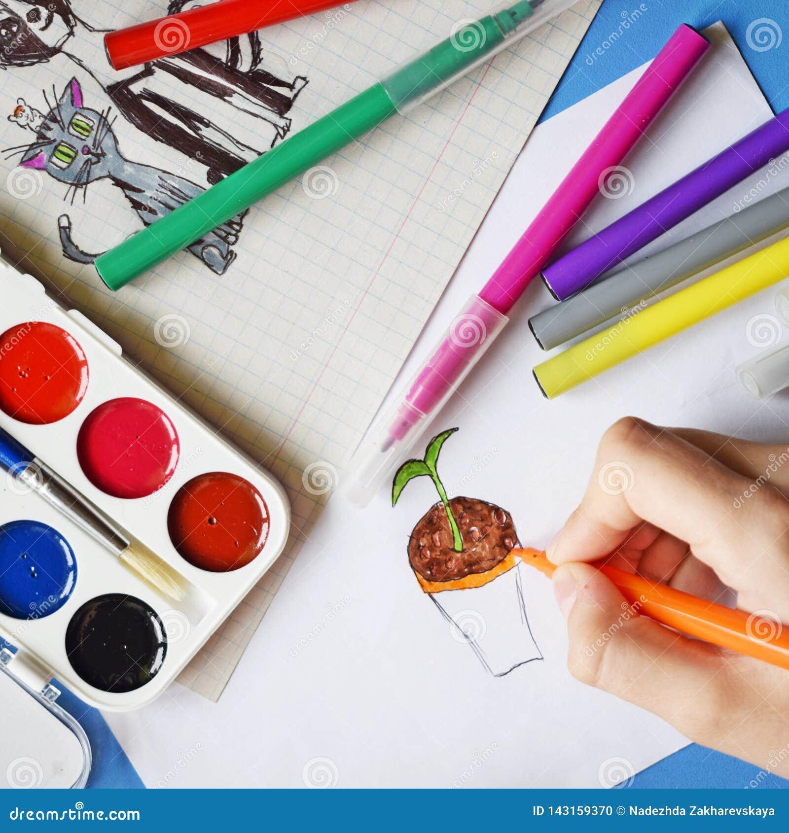 Χρώματα, δείκτες και σχέδια Watercolor