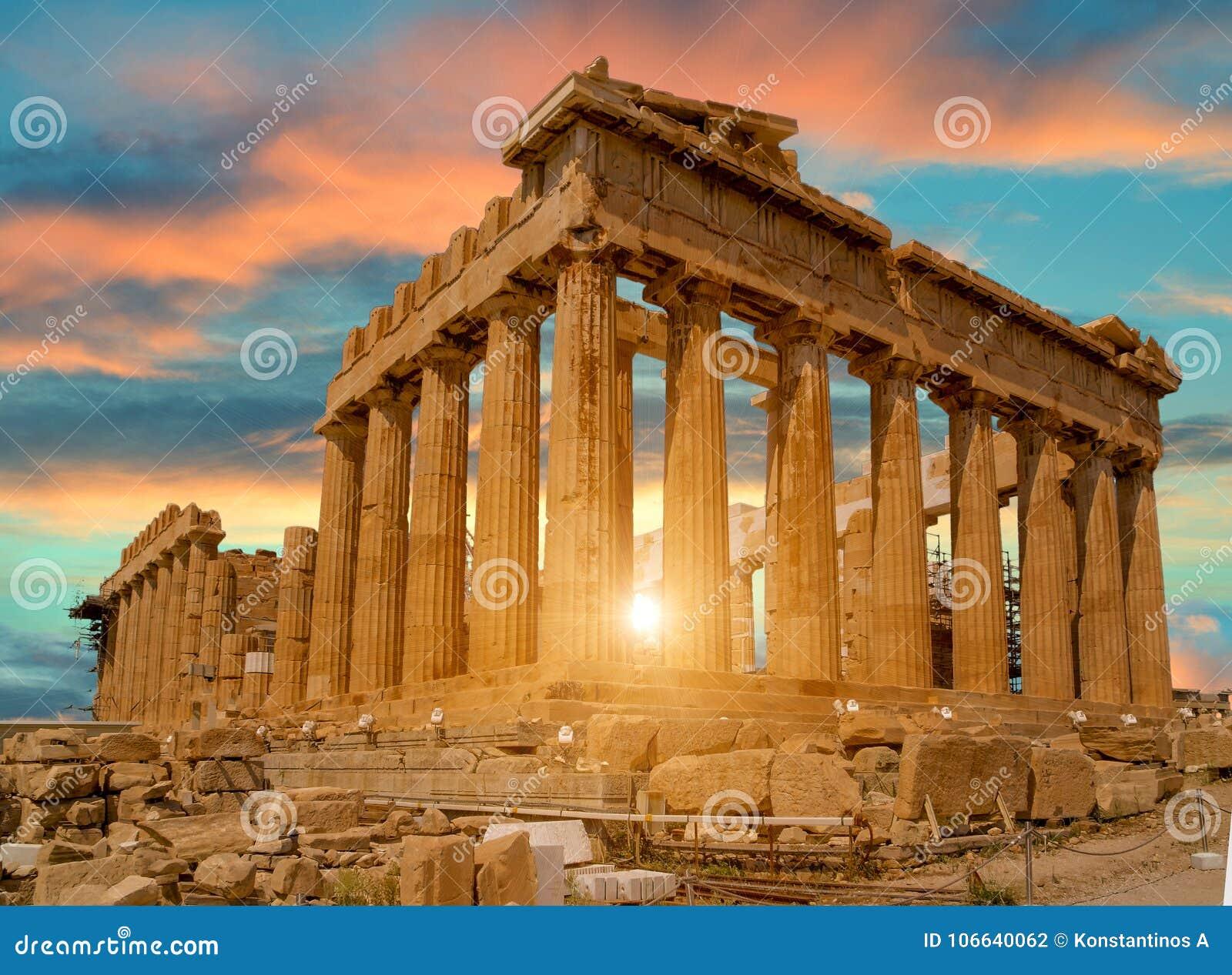 Χρώματα ηλιοβασιλέματος της Αθήνας Ελλάδα Parthenon