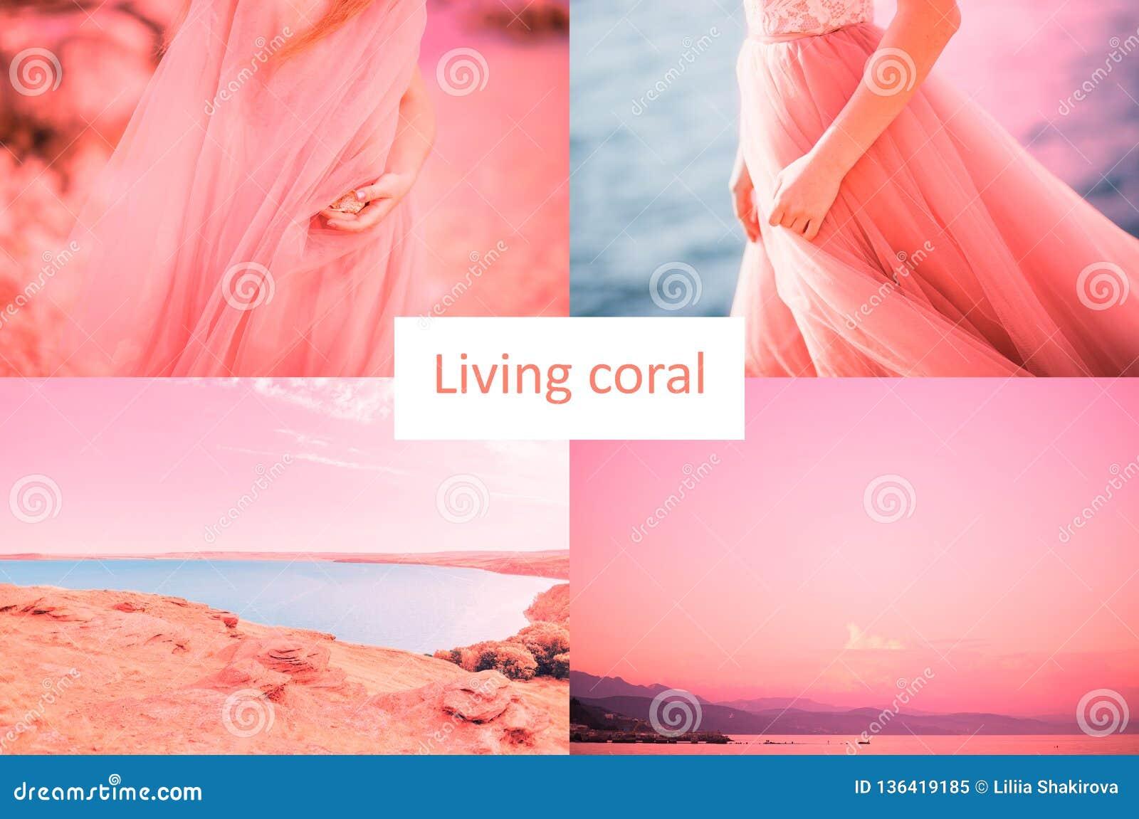 Χρώμα της επιγραφής κοραλλιών διαβίωσης έτους 2019 Όμορφο κολάζ οκτώ φωτογραφιών της θάλασσας, λίμνη, γυναίκες σε ένα φόρεμα