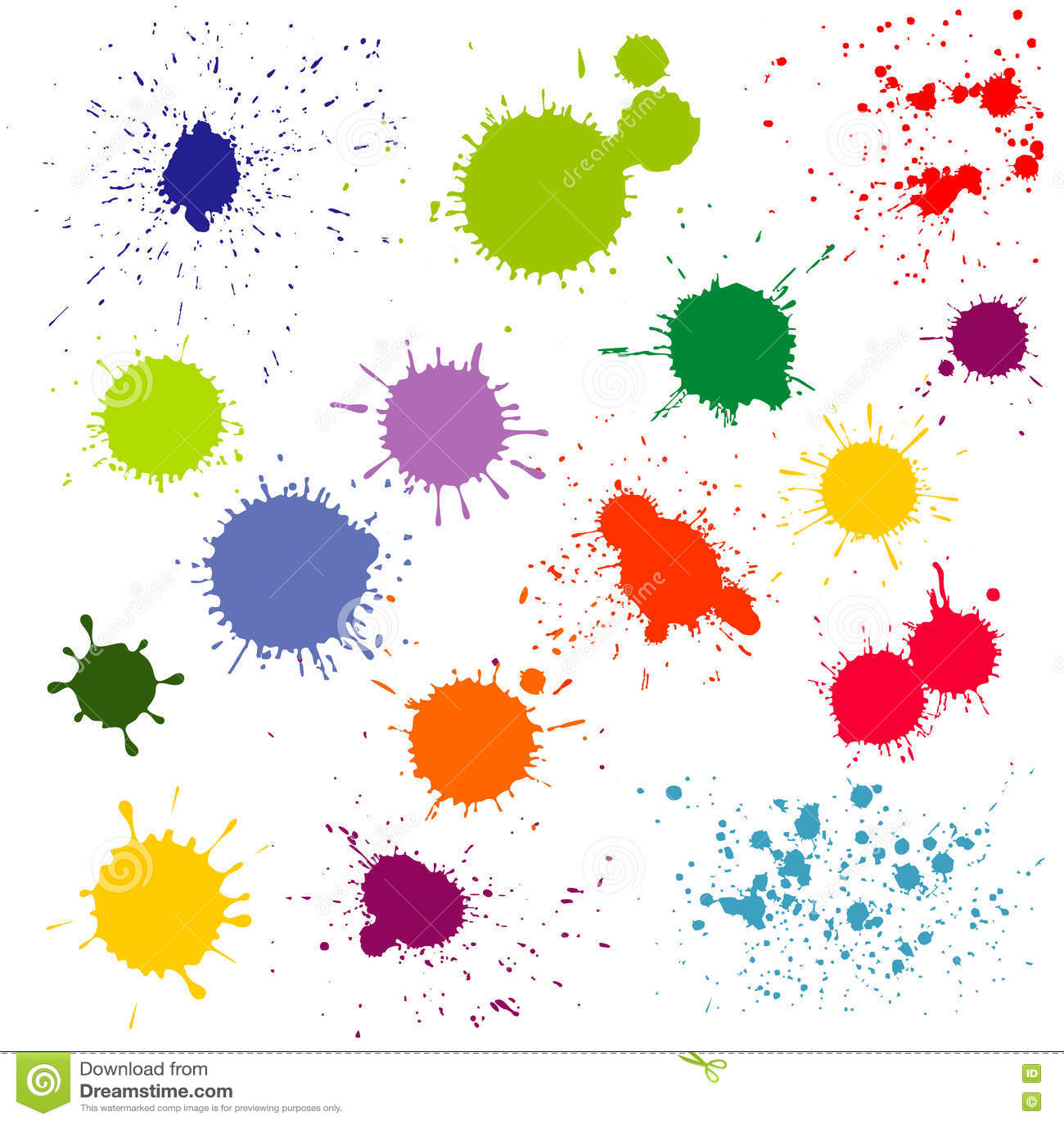 Χρώμα χρώματος splatter, διανυσματική συλλογή λεκέδων μελανιού