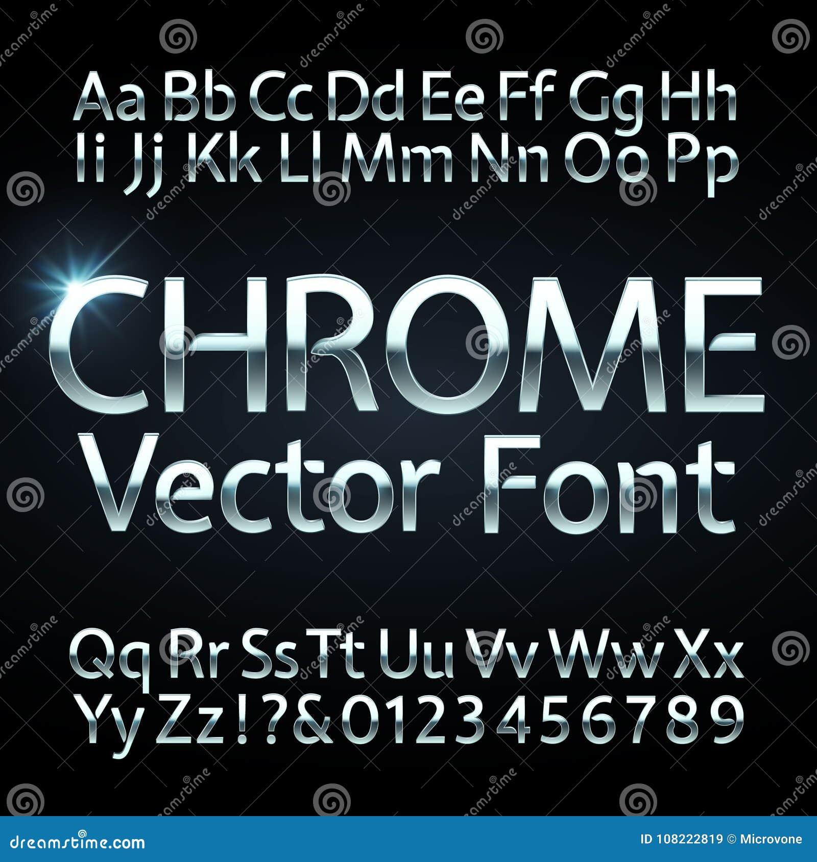Χρώμιο, χάλυβας ή ασημένιες επιστολές και διανυσματικό αλφάβητο αριθμών Μεταλλικός χαρακτήρας, πηγή