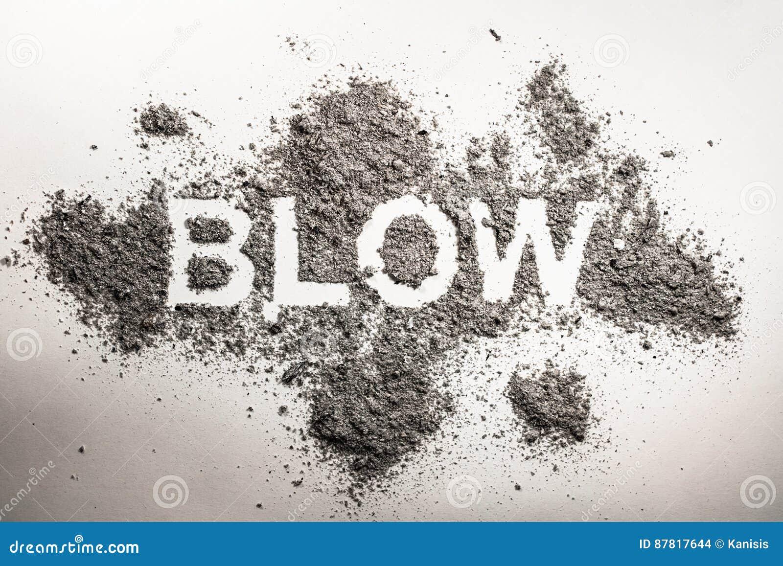 Χτύπημα λέξης που γράφεται στην τέφρα, σκόνη, ρύπος, σύννεφο άμμου ως αέρα, καπνός,