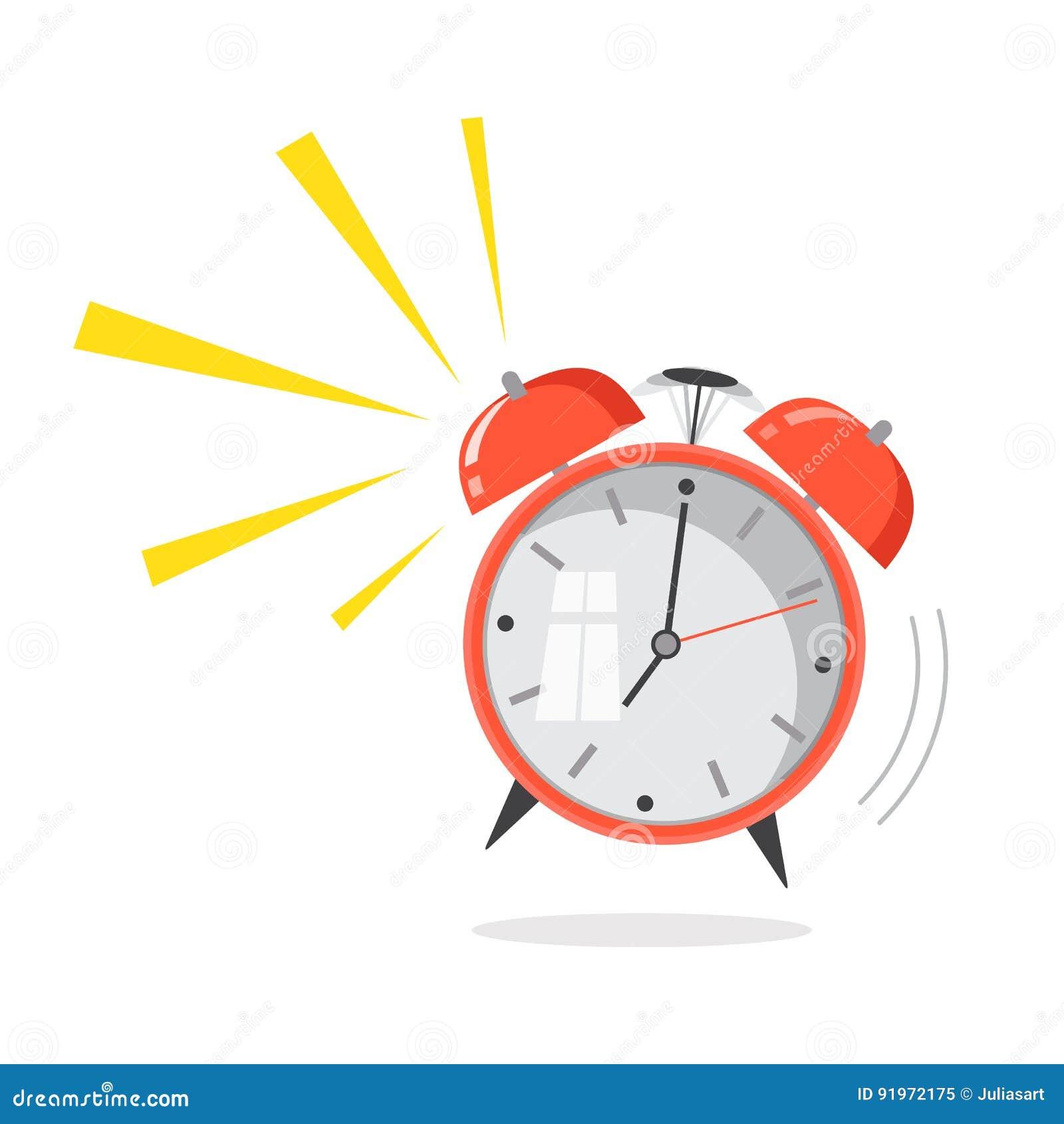 Χτύπημα ξυπνητηριών κινούμενων σχεδίων Ξυπνήστε έννοια πρωινού Επίπεδο desig