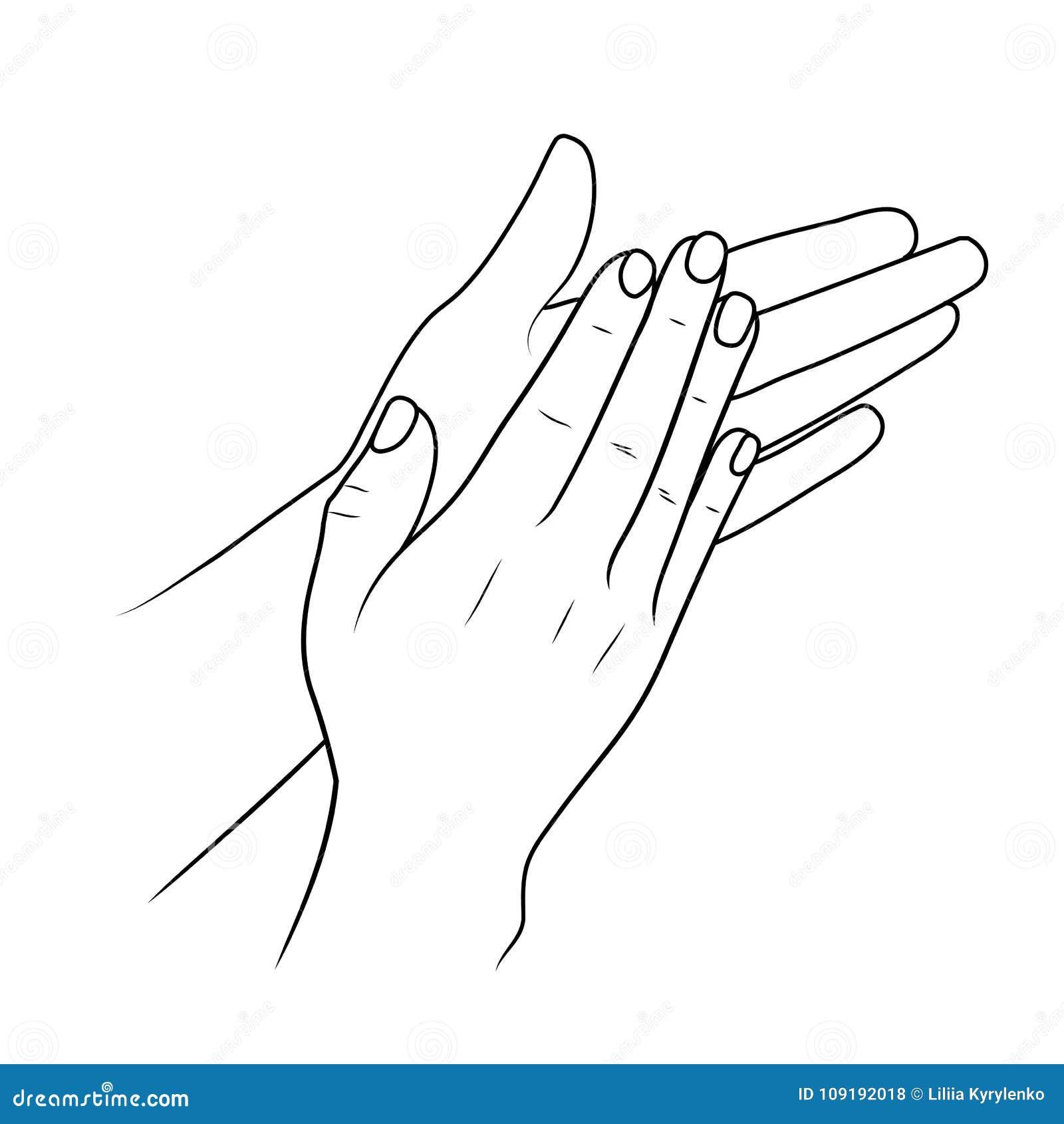Χτύπημα των χεριών ή επιδοκιμασία, γραμμικού απεικόνισης ή του σκίτσου από το μαύρο κτύπημα