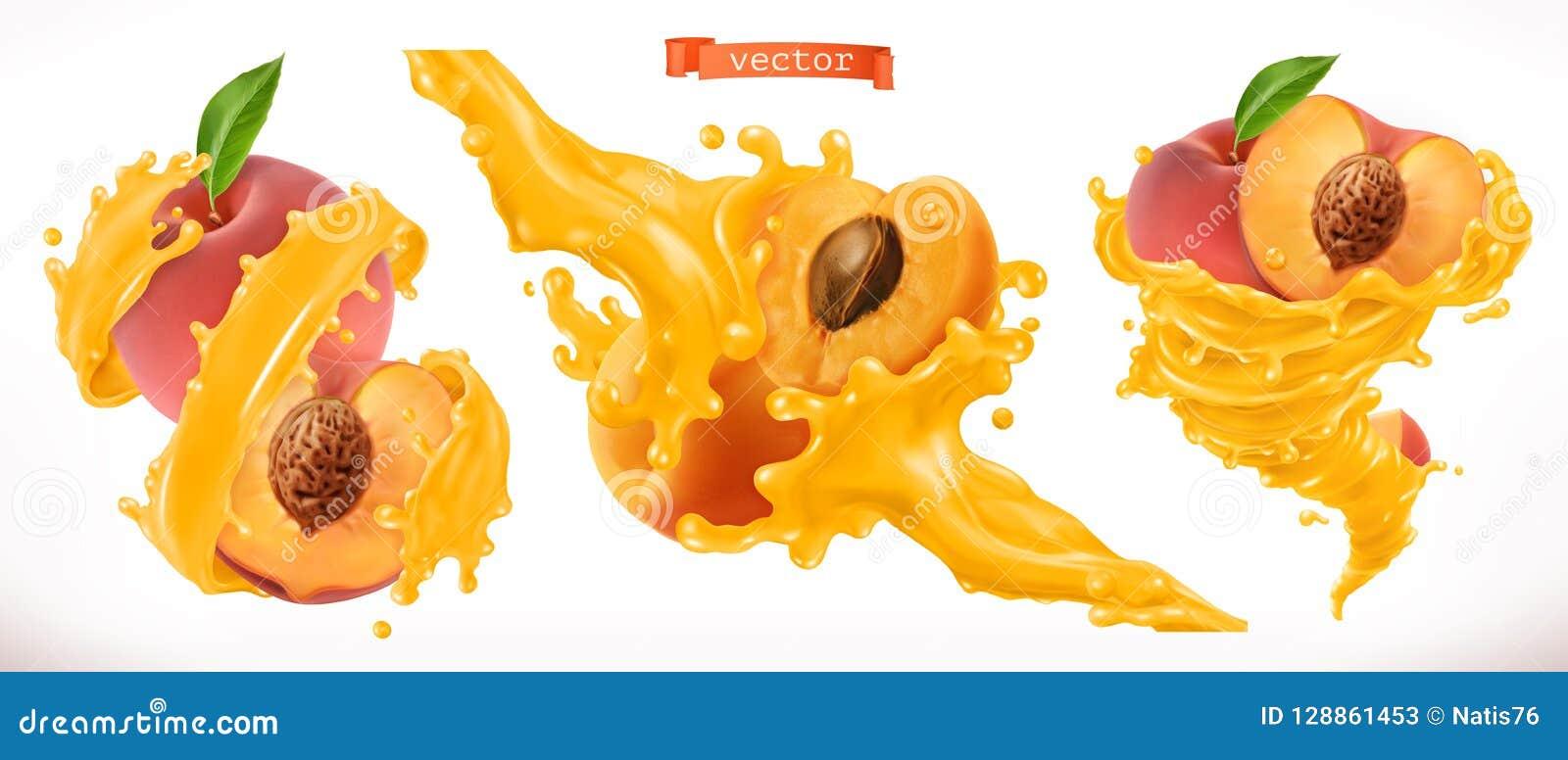 Χυμός ροδάκινων και βερίκοκων Τρισδιάστατο διανυσματικό εικονίδιο νωπών καρπών