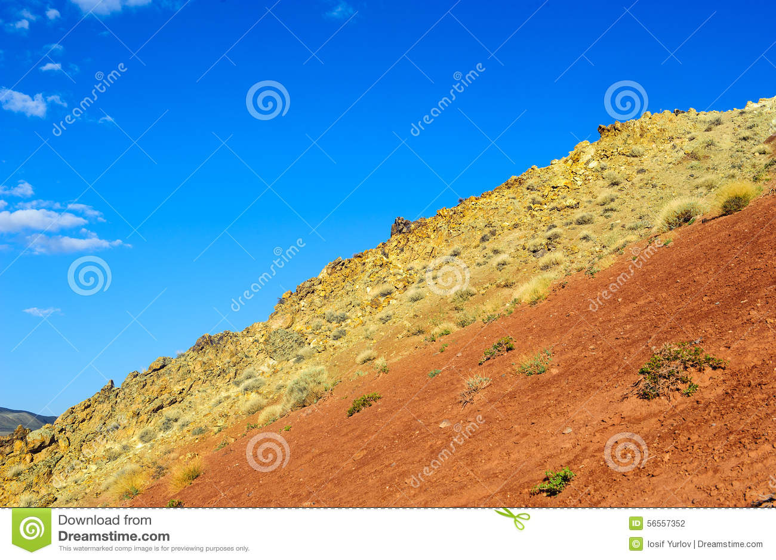 Download Χώμα χρώματος των καταθέσεων υδραργύρου σε Altai Στοκ Εικόνες - εικόνα από έρημος, χρώμα: 56557352
