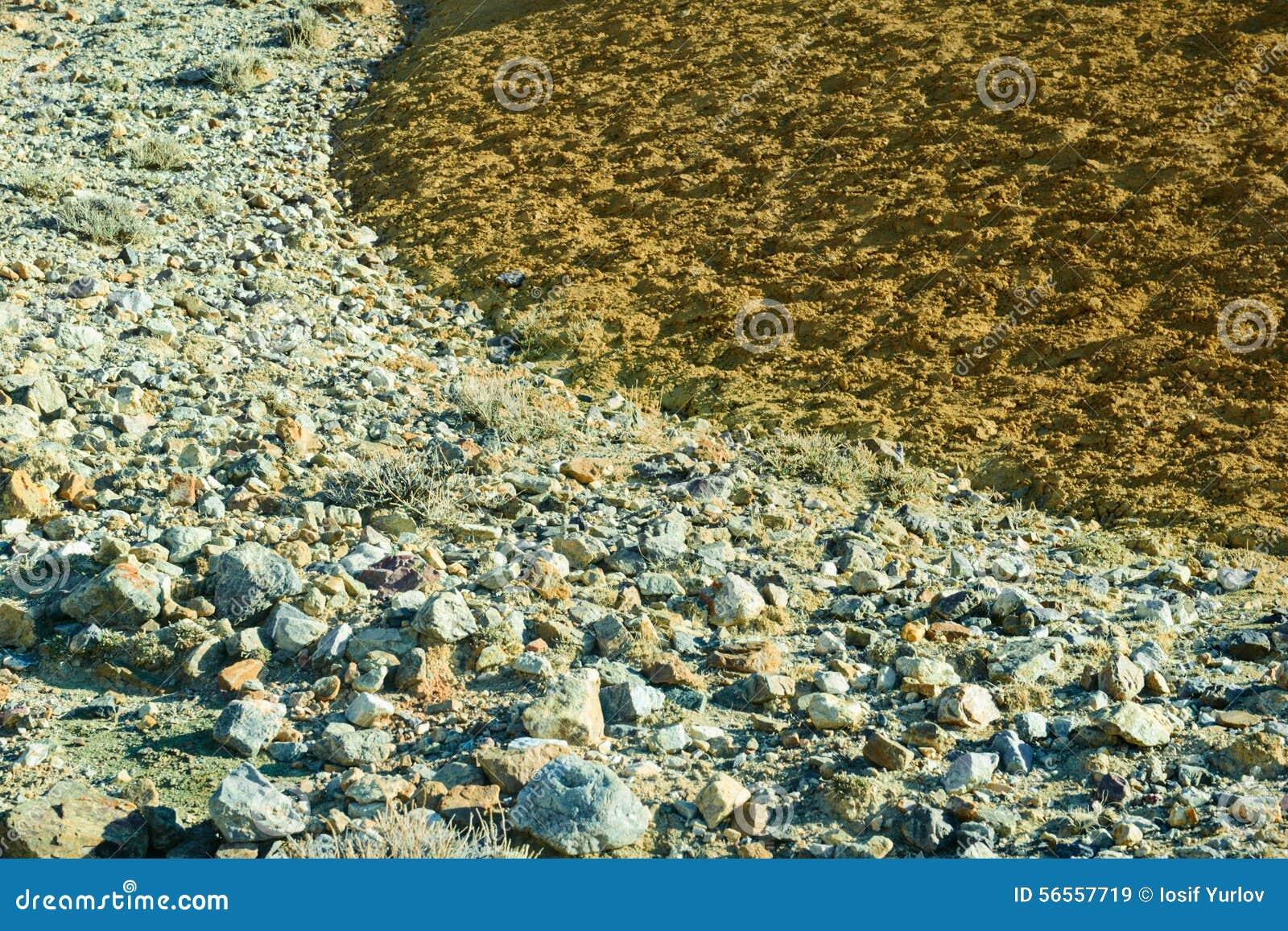 Download Χώμα χρώματος των καταθέσεων υδραργύρου σε Altai Στοκ Εικόνα - εικόνα από σαφής, διαποτισμένος: 56557719