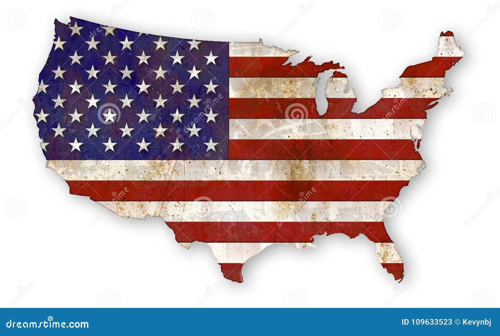 Χώρα ΗΠΑ Grunge αμερικανικών σημαιών