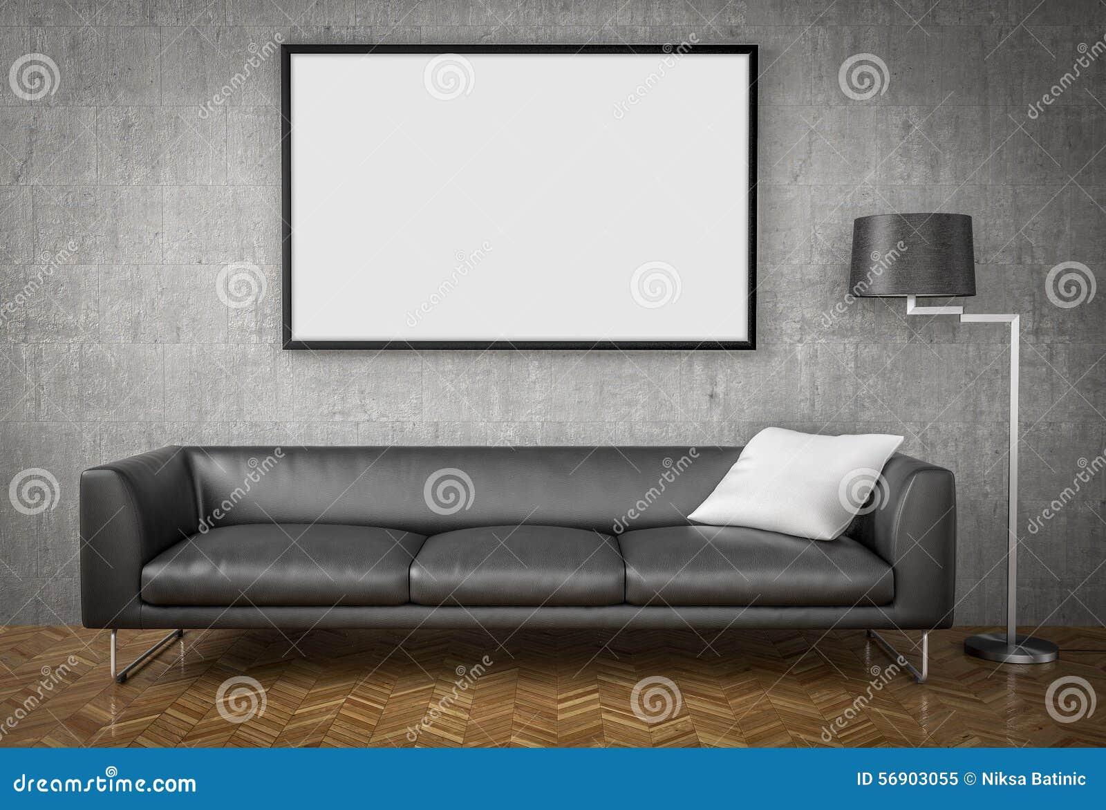 Χλεύη επάνω στην αφίσα, μεγάλος καναπές, υπόβαθρο συμπαγών τοίχων