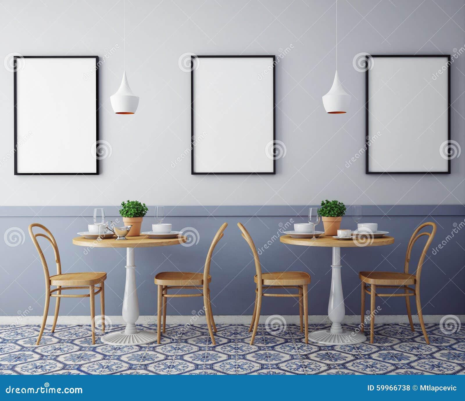 Χλεύη επάνω στις αφίσες με το αναδρομικό εσωτερικό υπόβαθρο εστιατορίων καφέδων hipster,