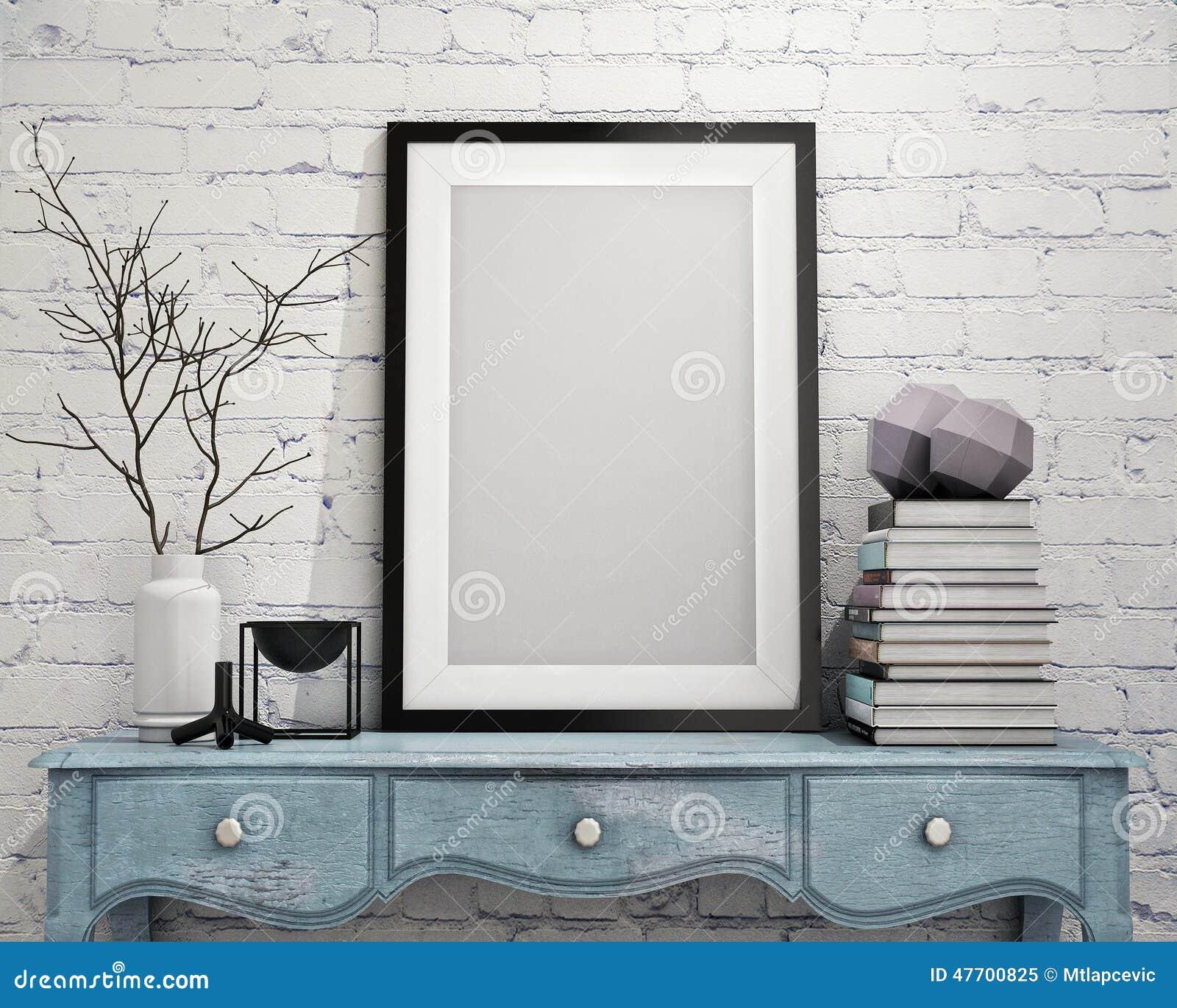 Χλεύη επάνω στο πλαίσιο αφισών στο εκλεκτής ποιότητας στήθος των συρταριών, εσωτερικό