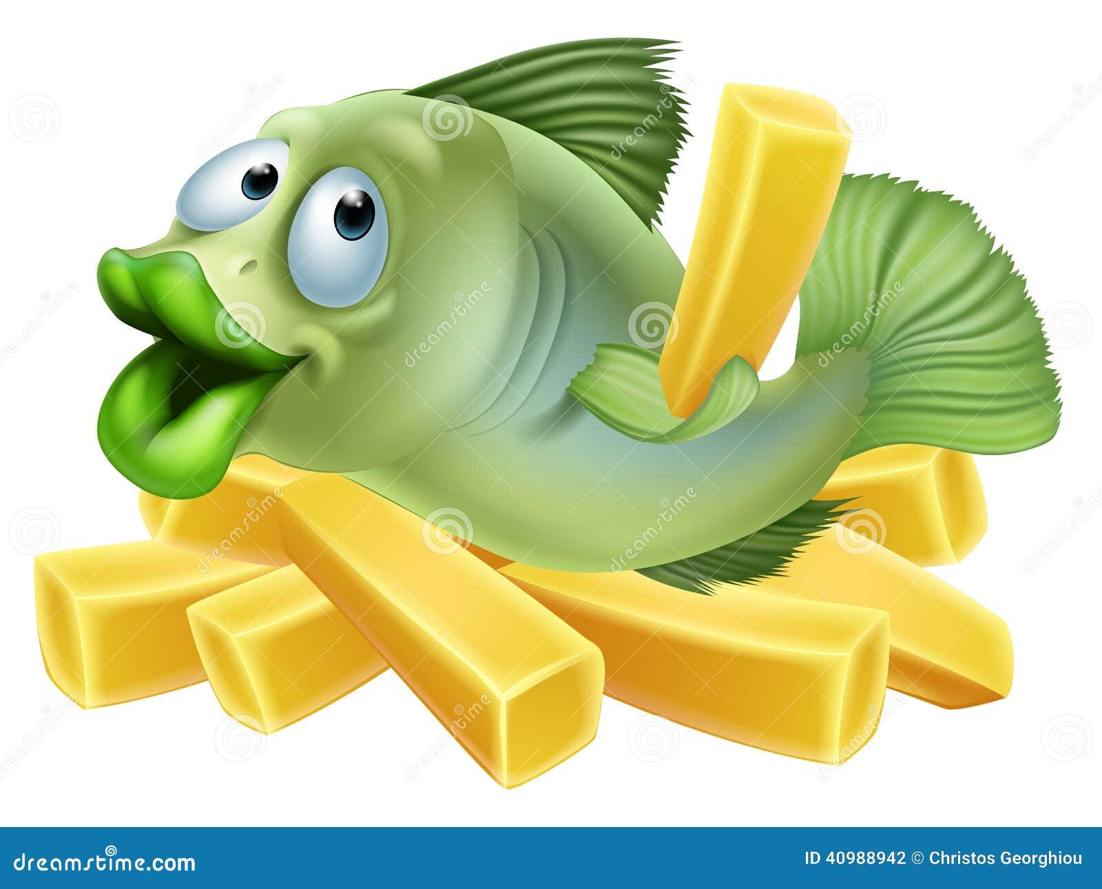Ψάρια και τσιπ κινούμενων σχεδίων