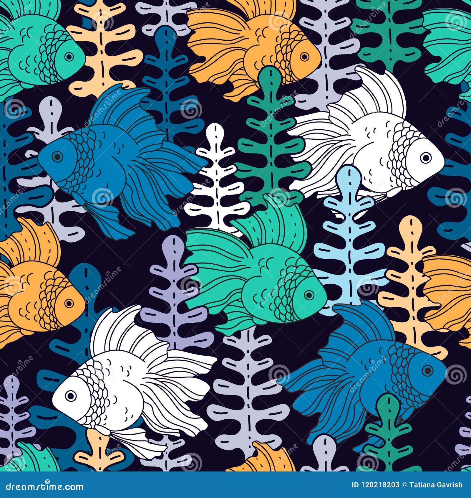 Ψάρια και φύκι Σχέδιο με τα ψάρια και τα ζωηρόχρωμα άλγη σε ένα σκοτεινό υπόβαθρο