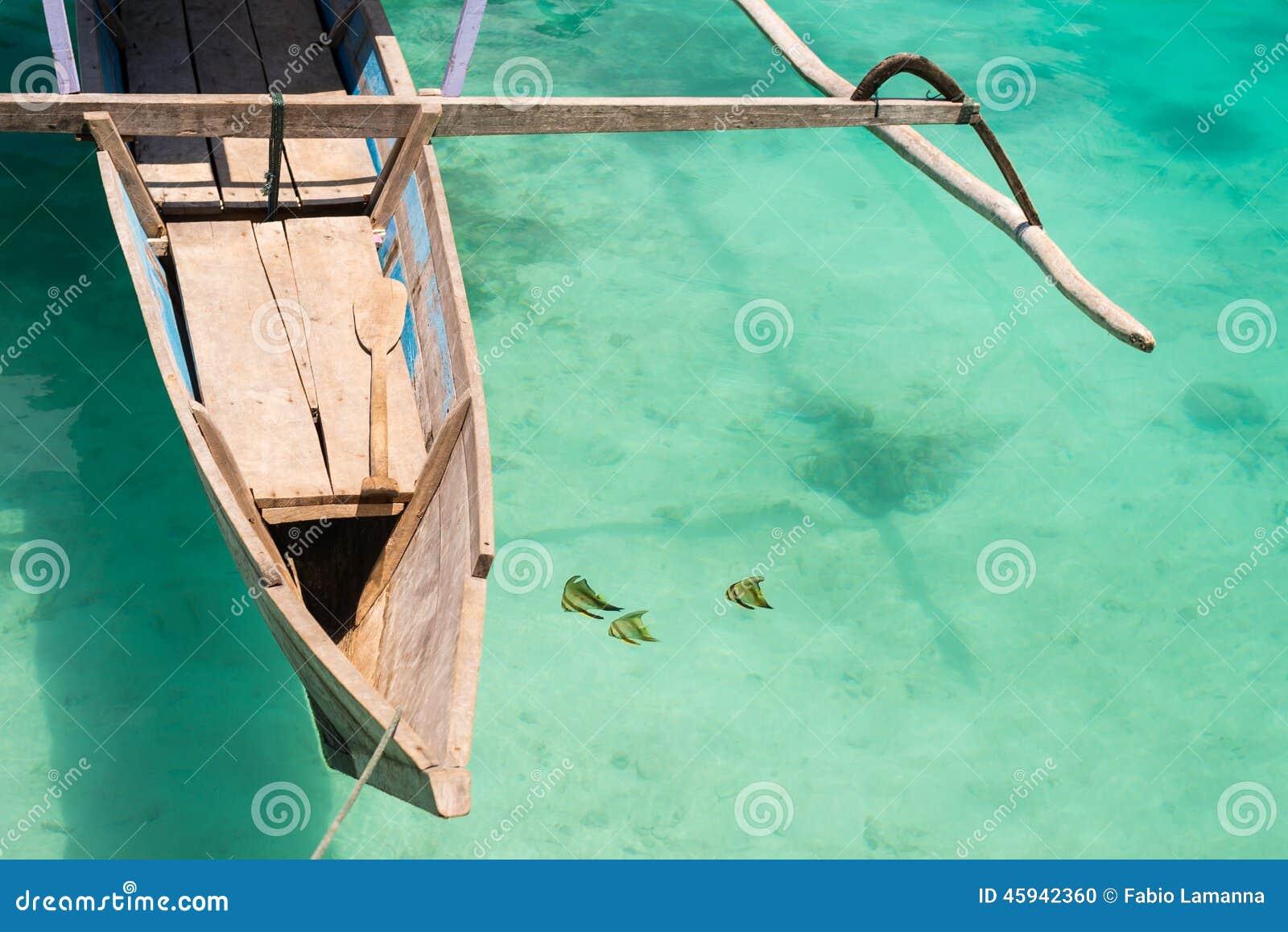 Ψάρια πεταλούδων κοντά στην παραδοσιακή βάρκα
