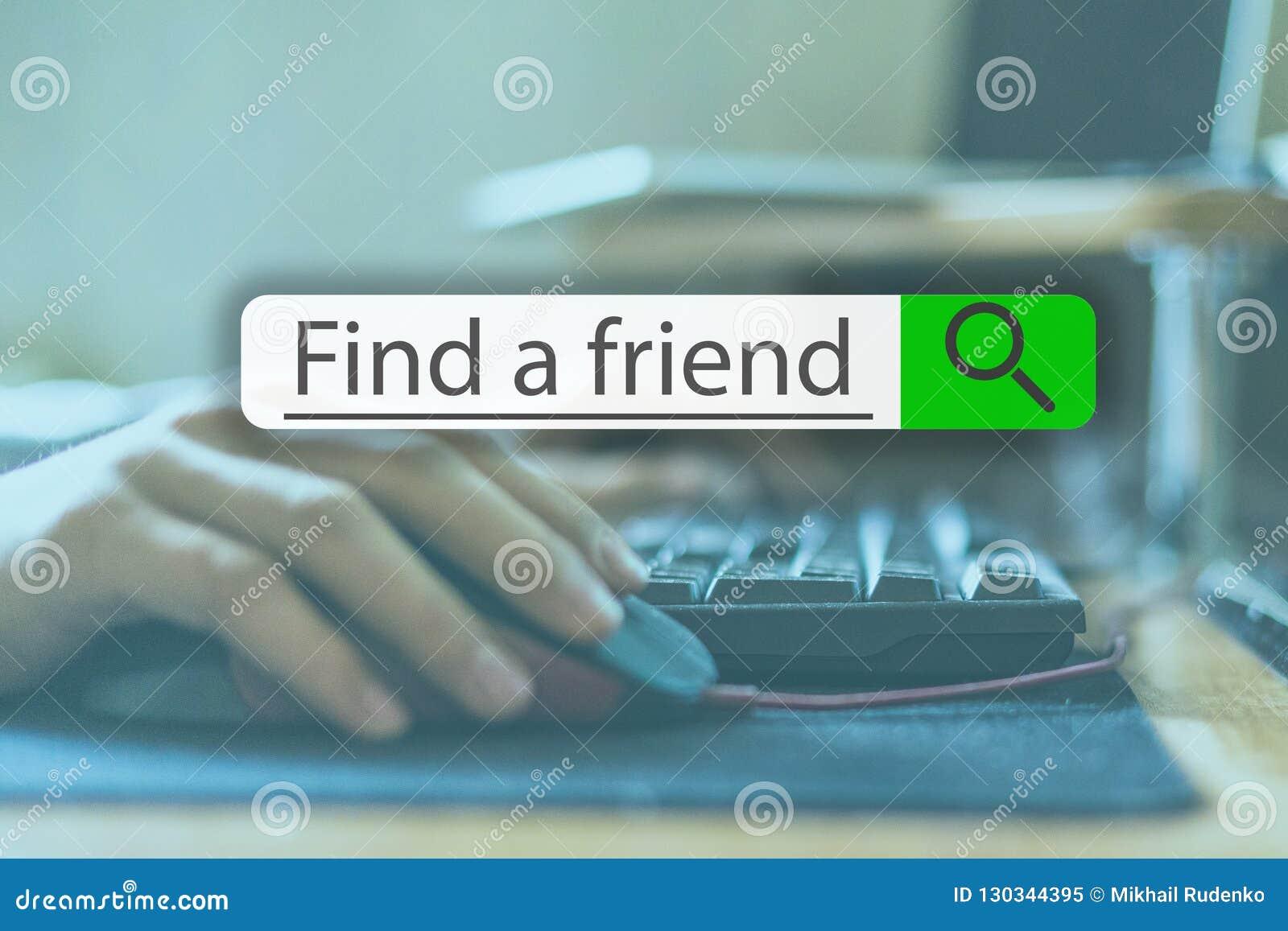 Ψάχνοντας την ετικέττα πάνω από την εικόνα έννοιας με τη λέξη βρείτε έναν φίλο β