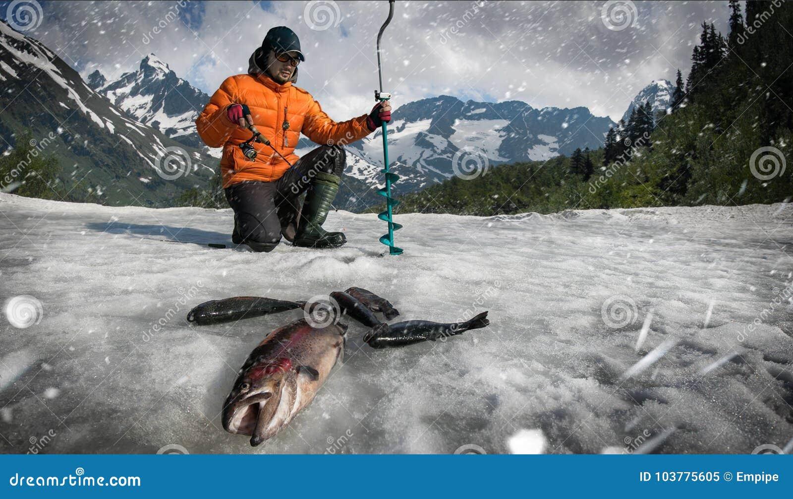 Ψαράς σε μια λίμνη ηλιοβασιλέματος