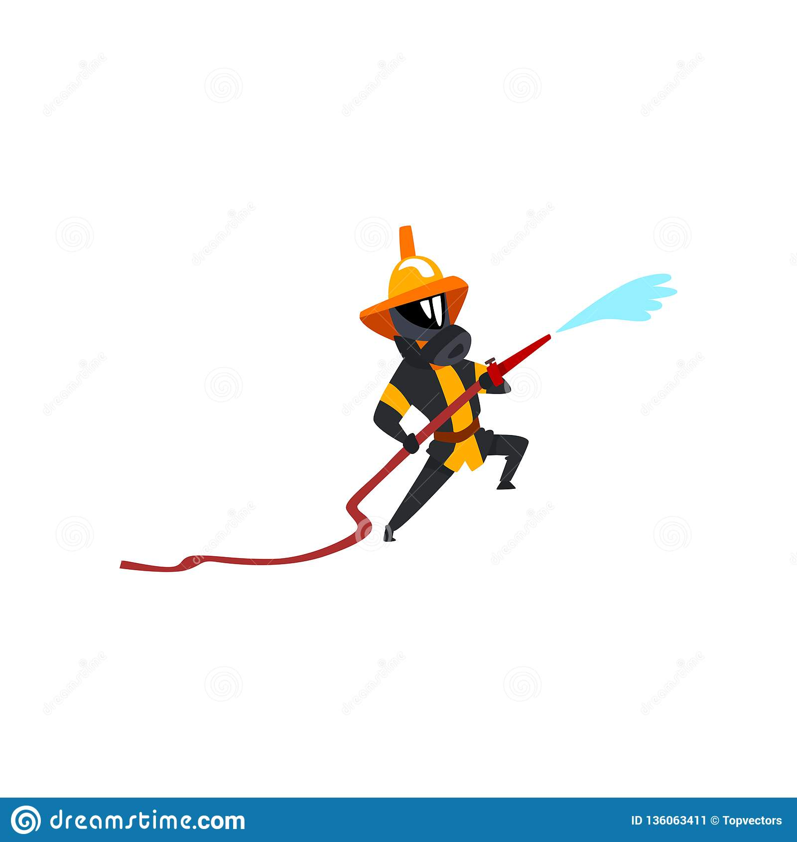 Ψεκάζοντας νερό πυροσβεστών που χρησιμοποιεί τη μάνικα, το χαρακτήρα πυροσβεστών σε ομοιόμορφο και τη μάσκα στη διανυσματική απει