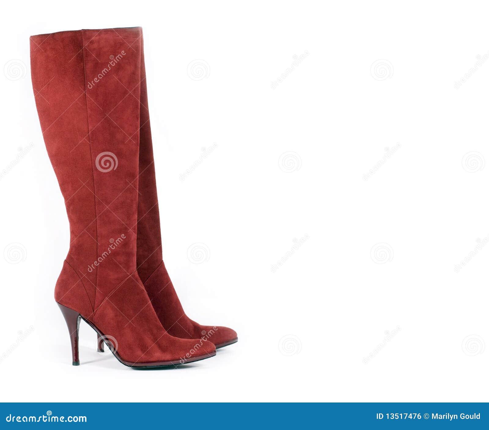 25d9836ea8f Ψηλές κόκκινες μπότες σουέτ Στοκ Εικόνες - εικόνα από απομονωμένος ...
