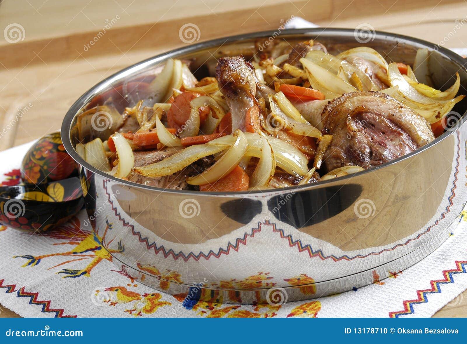 ψημένα πάπια λαχανικά