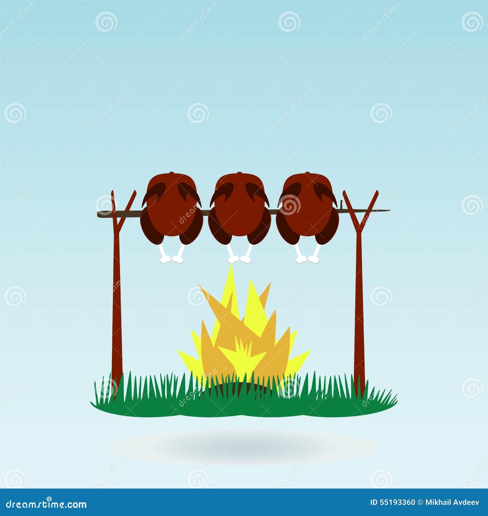 Ψημένος σχάρα κόκκορας της Τουρκίας κοτόπουλου