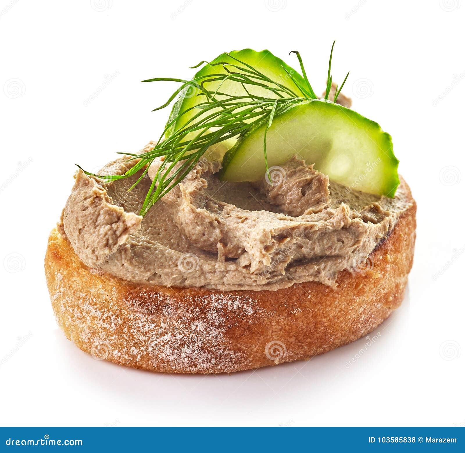 Ψημένο ψωμί με το σπιτικό πατέ συκωτιού