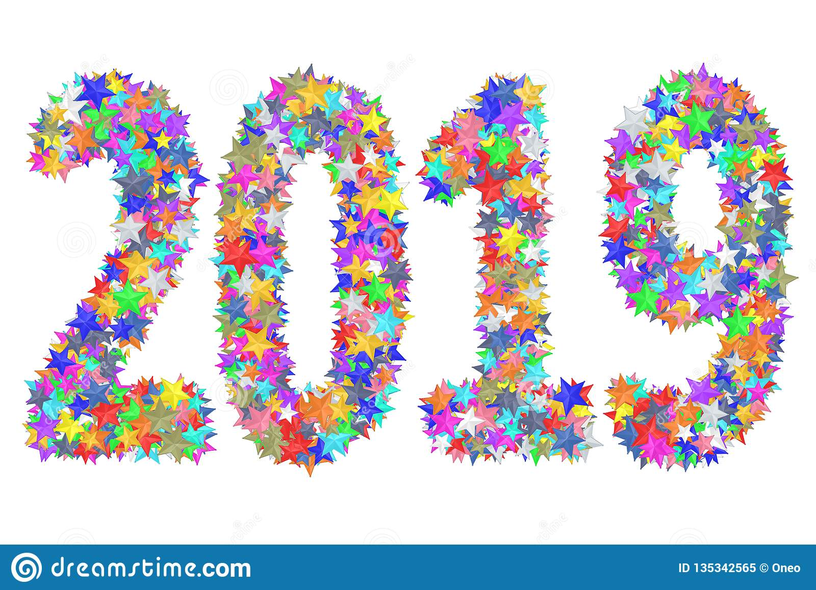2019 ψηφία που αποτελούνται από τα ζωηρόχρωμα λουλούδια γυαλιού που απομονώνονται στο λευκό