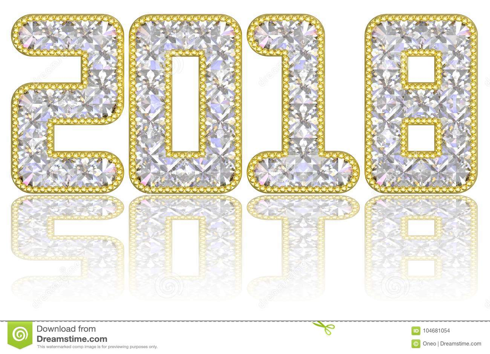 2018 ψηφία που αποτελούνται από τους πολύτιμους λίθους στο χρυσό πλαίσιο στο στιλπνό άσπρο υπόβαθρο