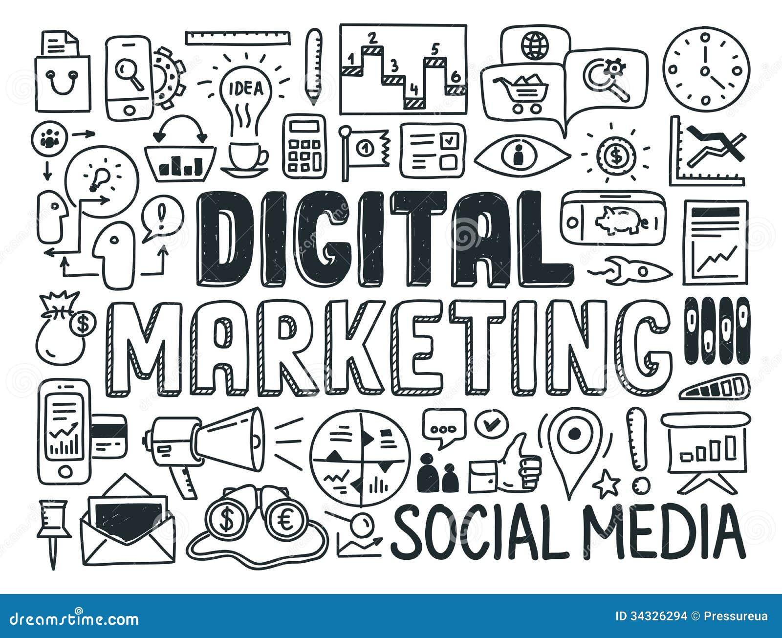 Ψηφιακά στοιχεία μάρκετινγκ doodle καθορισμένα