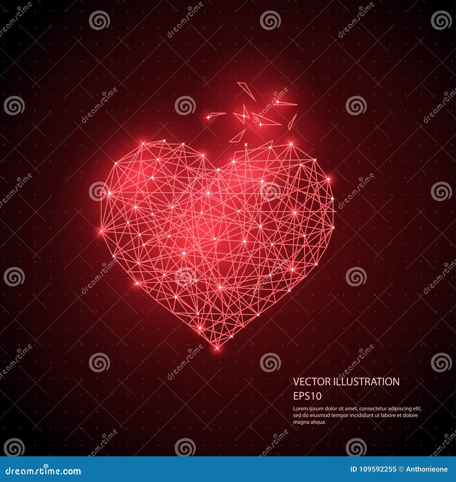 Ψηφιακά συρμένο κόκκινο πλαίσιο καλωδίων καρδιών χαμηλό πολυ που απομονώνεται στο μαύρο υπόβαθρο