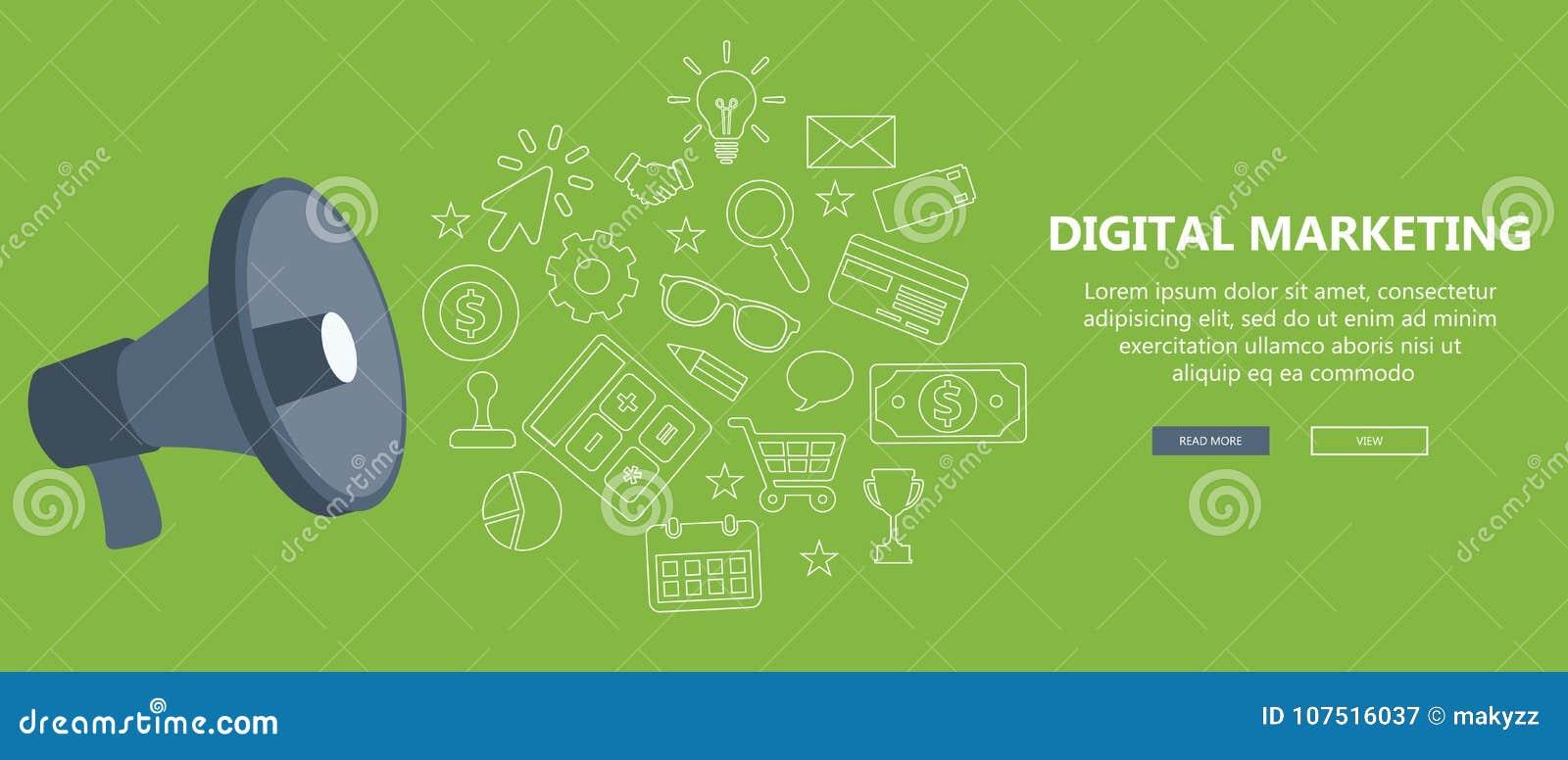 Ψηφιακή έννοια μάρκετινγκ και διαφήμισης Επίπεδη απεικόνιση
