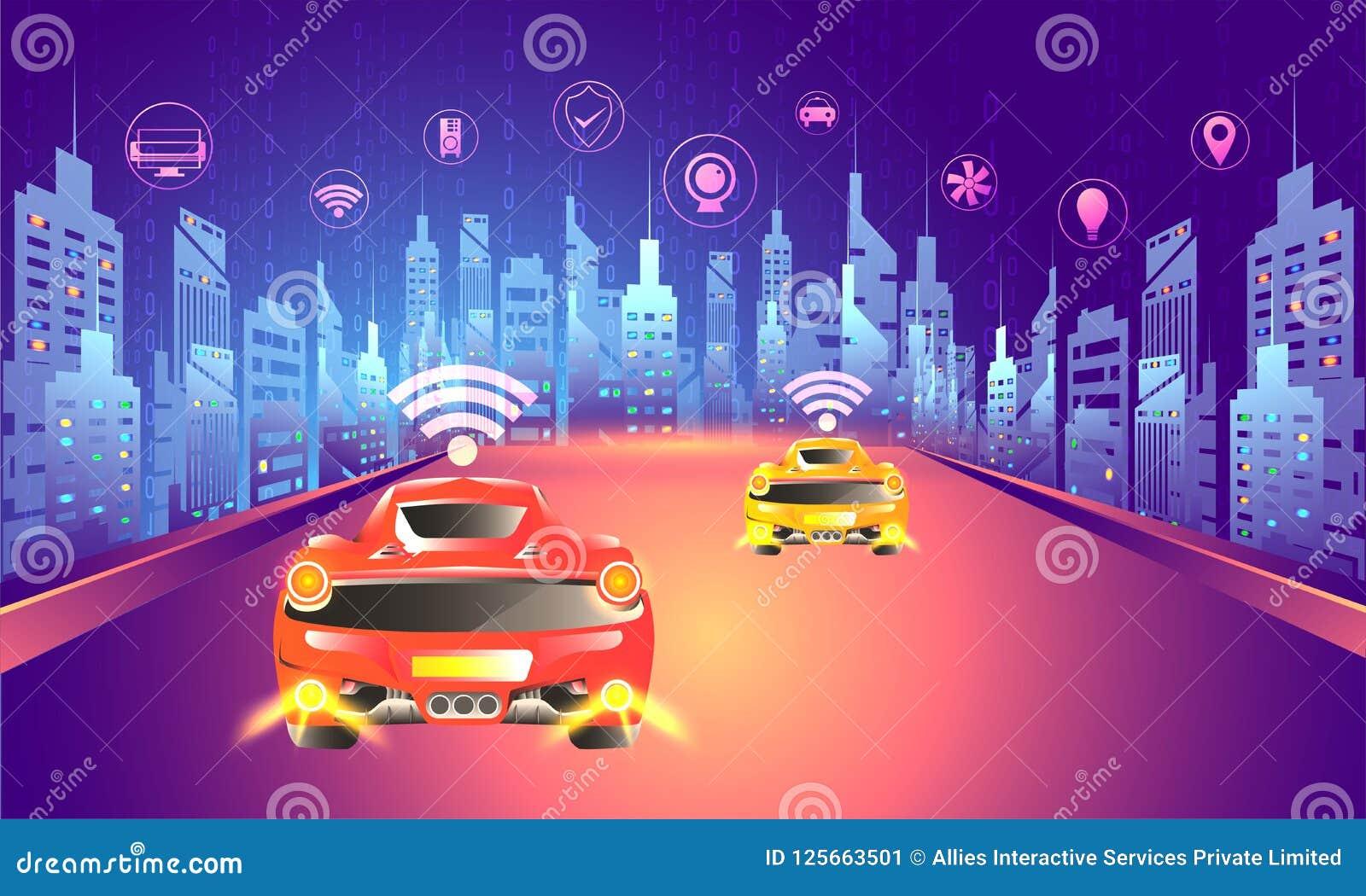 Ψηφιακή έννοια τεχνολογίας, αστικό lanscape με αυτόνομο vehic