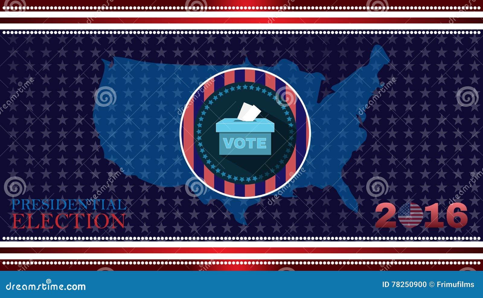 Ψηφιακή διανυσματική αμερικανική εκλογή με το κιβώτιο ψηφοφορίας του 2016