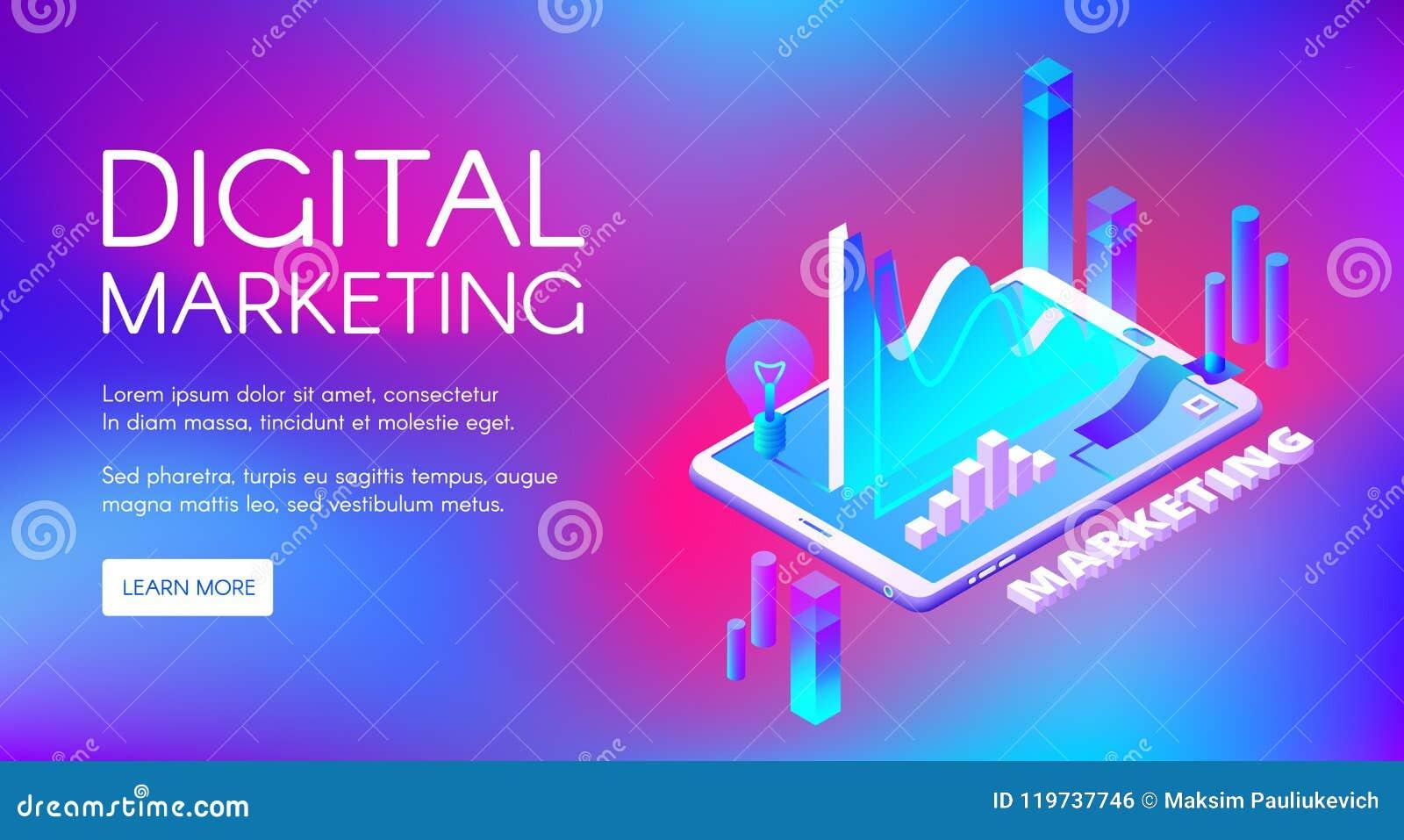 Ψηφιακή isometric διανυσματική απεικόνιση μάρκετινγκ