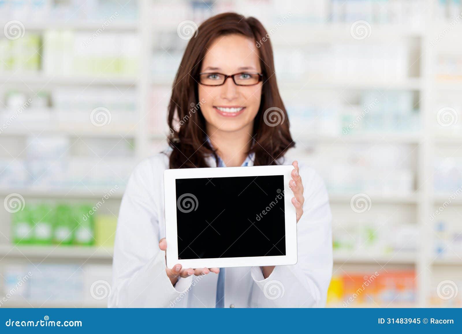 Ψηφιακός υπολογιστής ταμπλετών στο φαρμακείο
