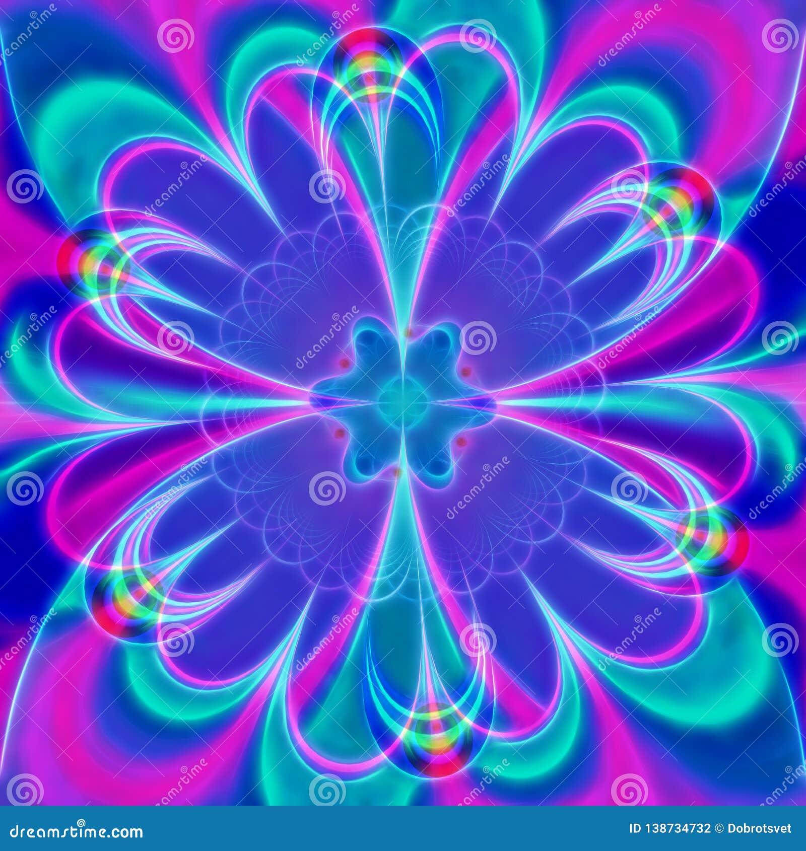 Ψηφιακό ιώδες λουλούδι, υπολογιστής που παράγονται, τρισδιάστατη δίνοντας fractal τέχνη