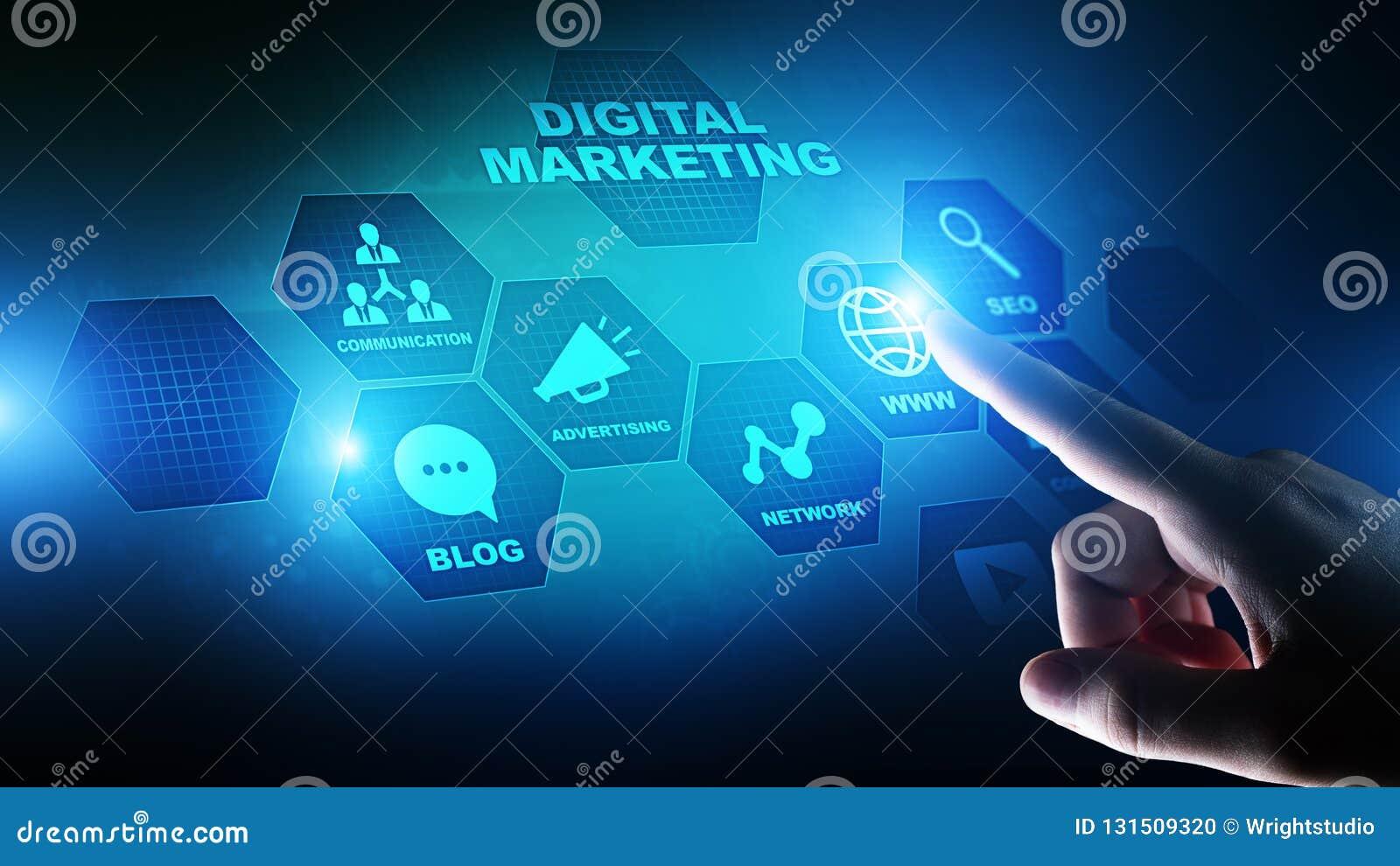 Ψηφιακό μάρκετινγκ, on-line διαφήμιση, SEO, SEM, SMM Επιχείρηση και έννοια Διαδικτύου